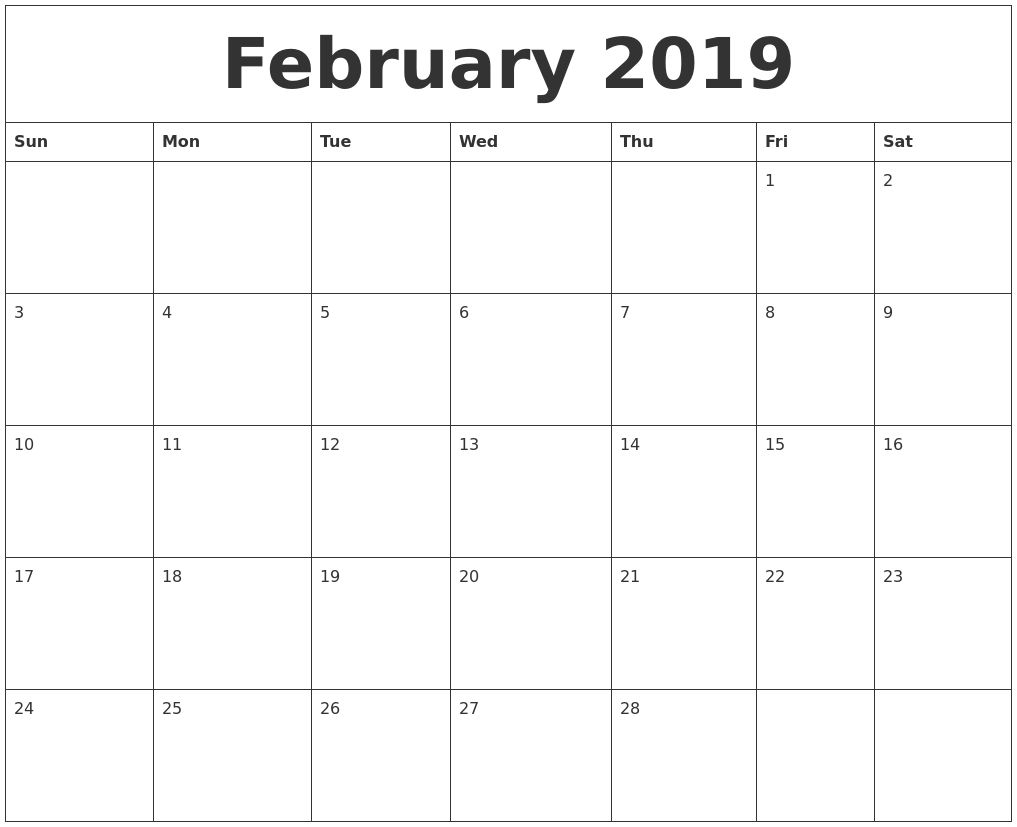February 2019 Free Printable Monthly Calendar Calendar Pinterest
