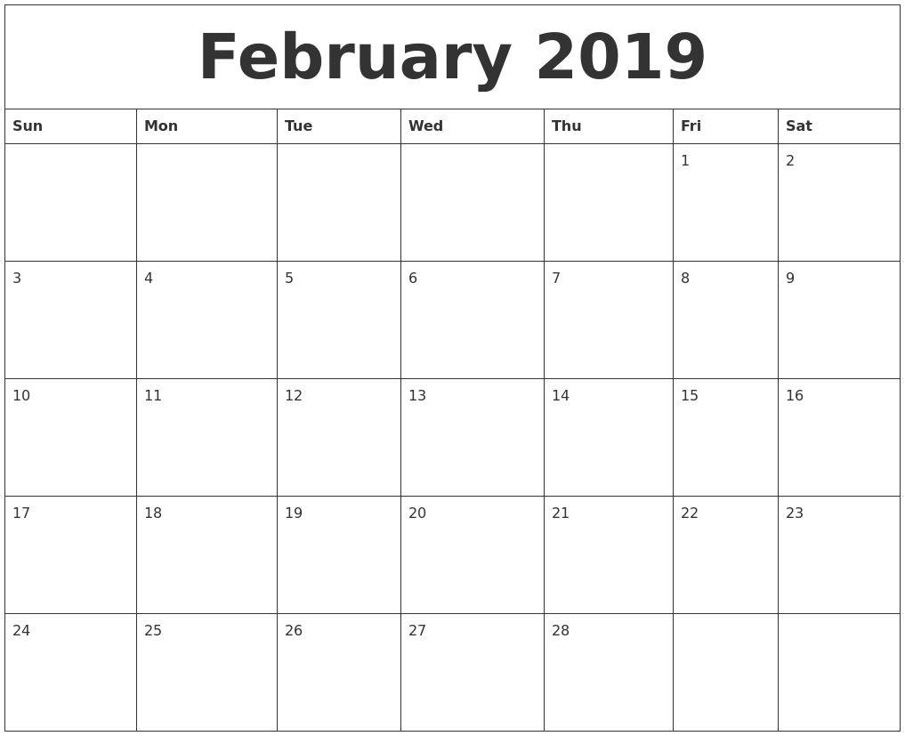 February 2019 Free Printable Monthly Calendar Calendar Pinterest