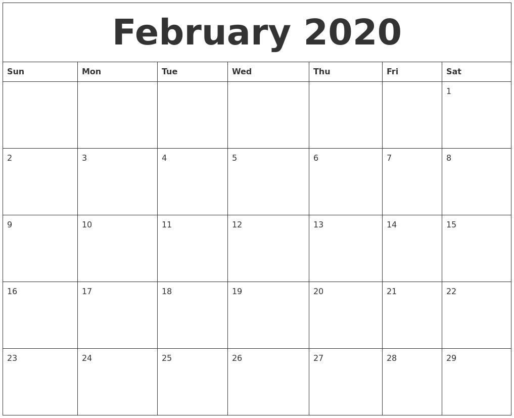 February 2020 Printable Calendar Free