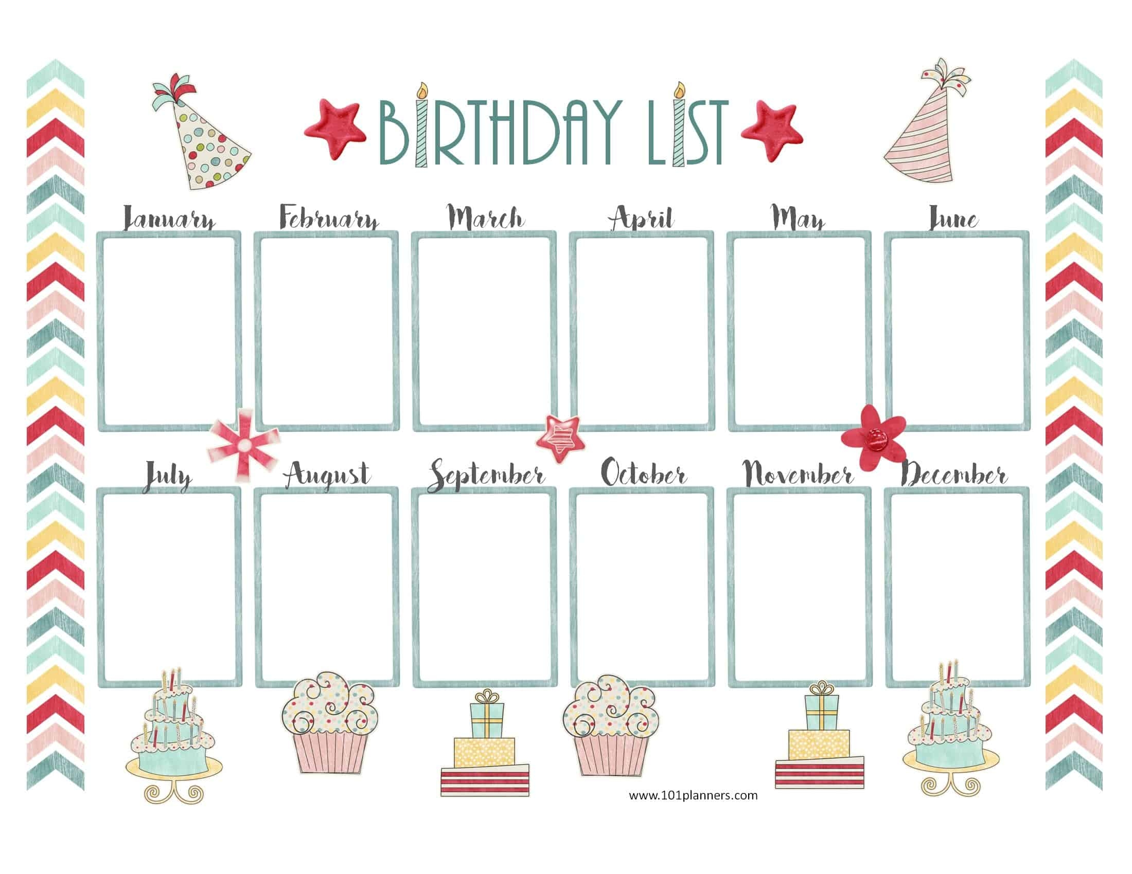 Free Birthday Calendar Customize Online Print At Home