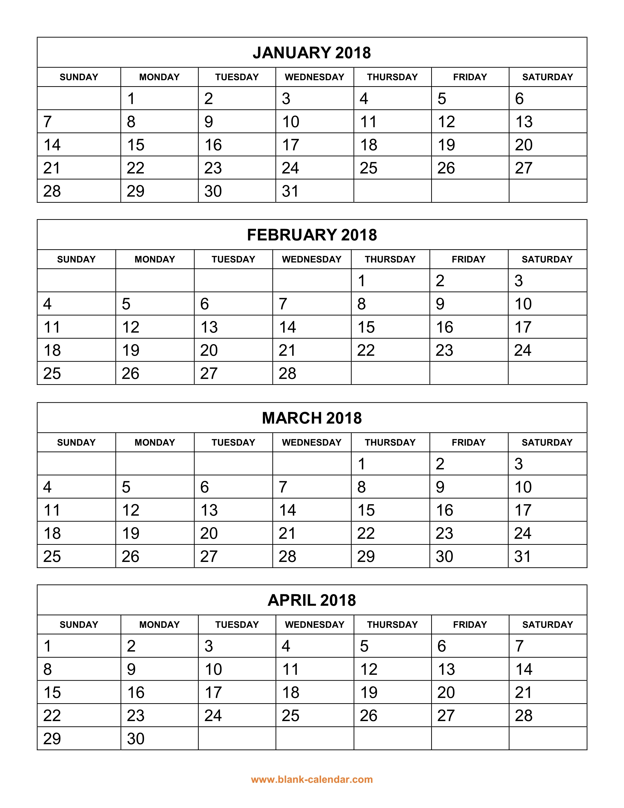 Free Download Printable Calendar 2018 4 Months Per Page 3 Pages