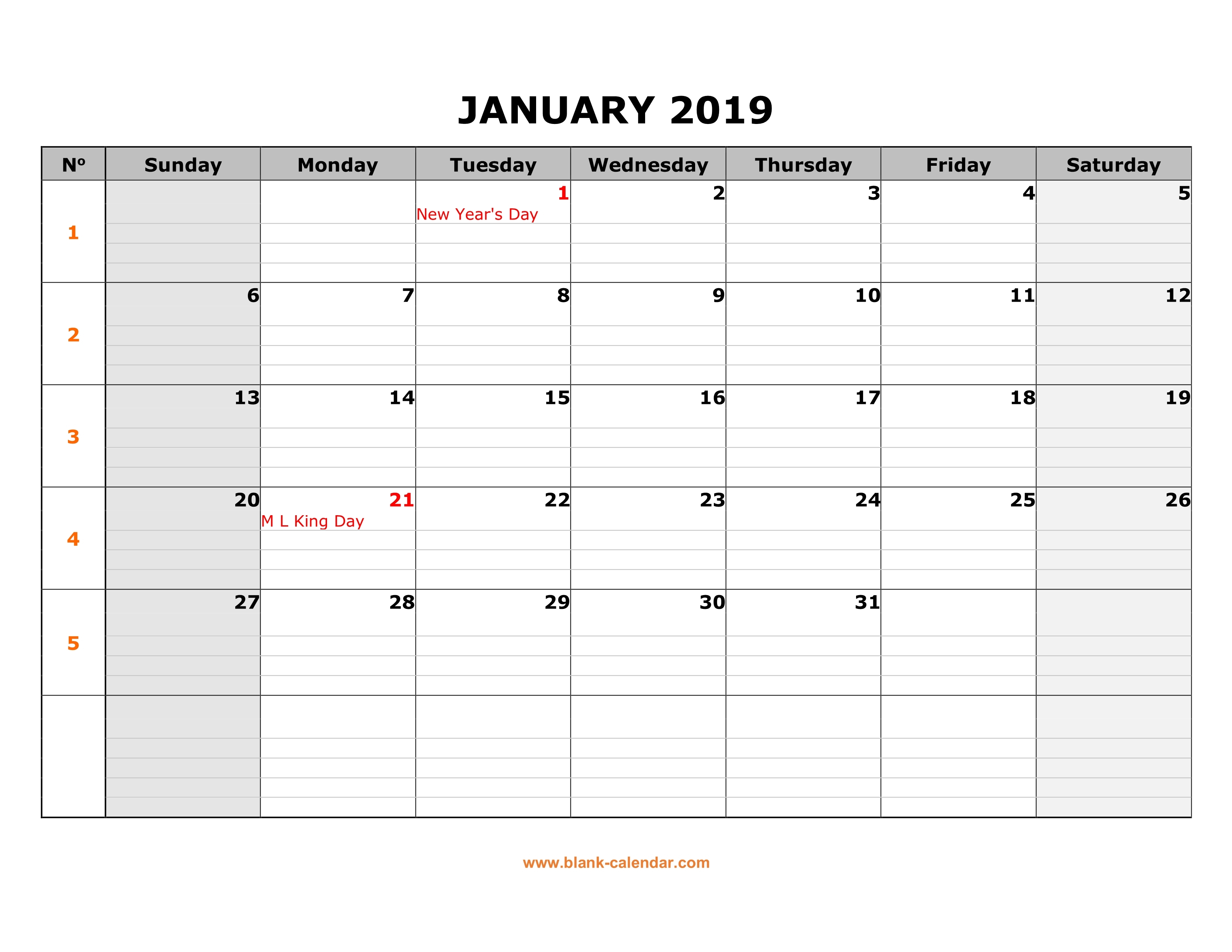 Free Download Printable Calendar 2019 Large Box Grid Space For Notes