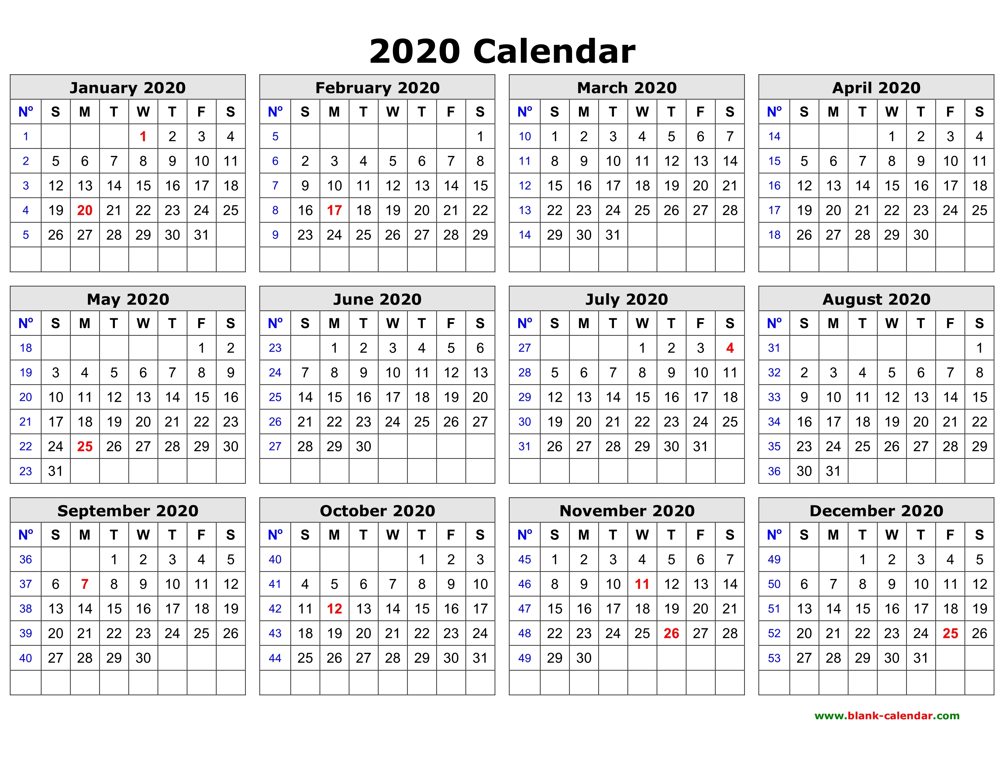 Free Download Printable Calendar 2020 In One Page Clean Design