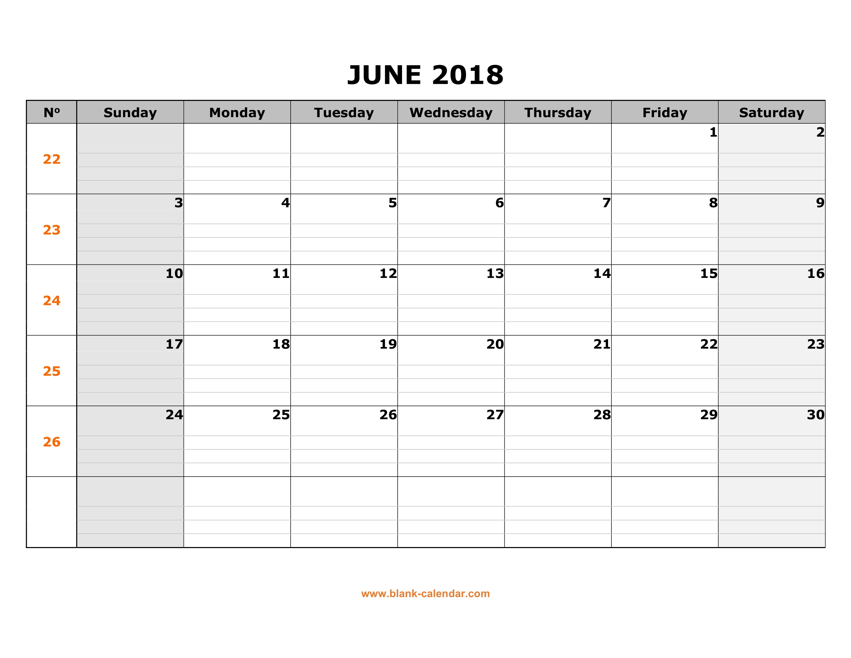 Free Download Printable June 2018 Calendar Large Box Grid Space