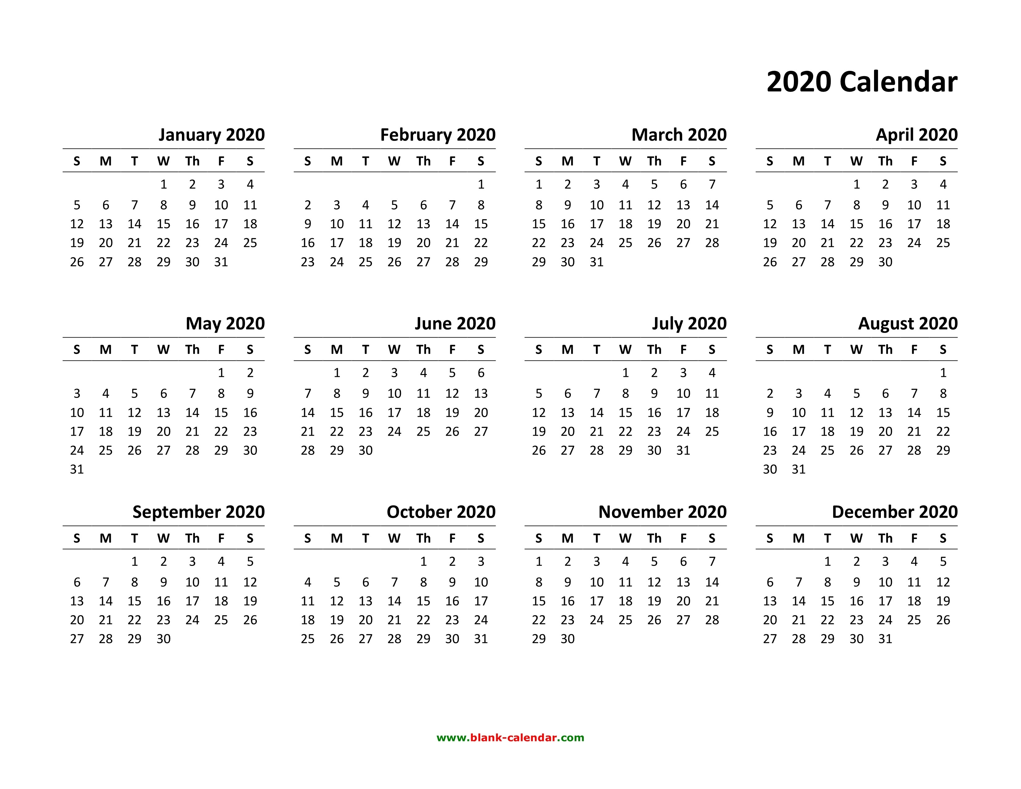 Free Printable 2020 Calendars Yearly Calendar 2020 Monthly Yearly