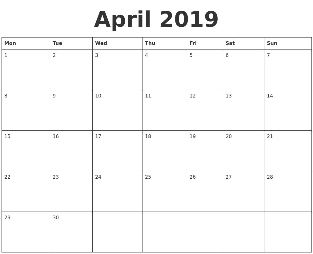 Free Printable April 2019 Calendar Template 150 April 2019