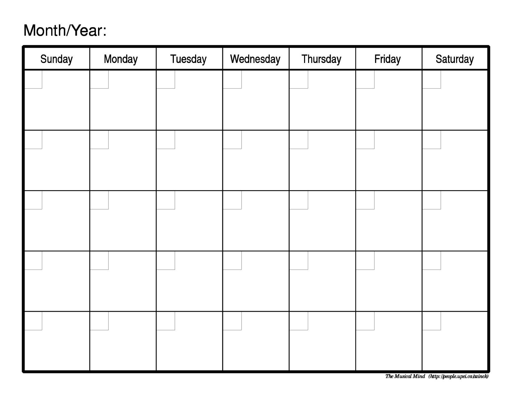 Free Printable Blank Monthly Calendar Blank Printable Monthly