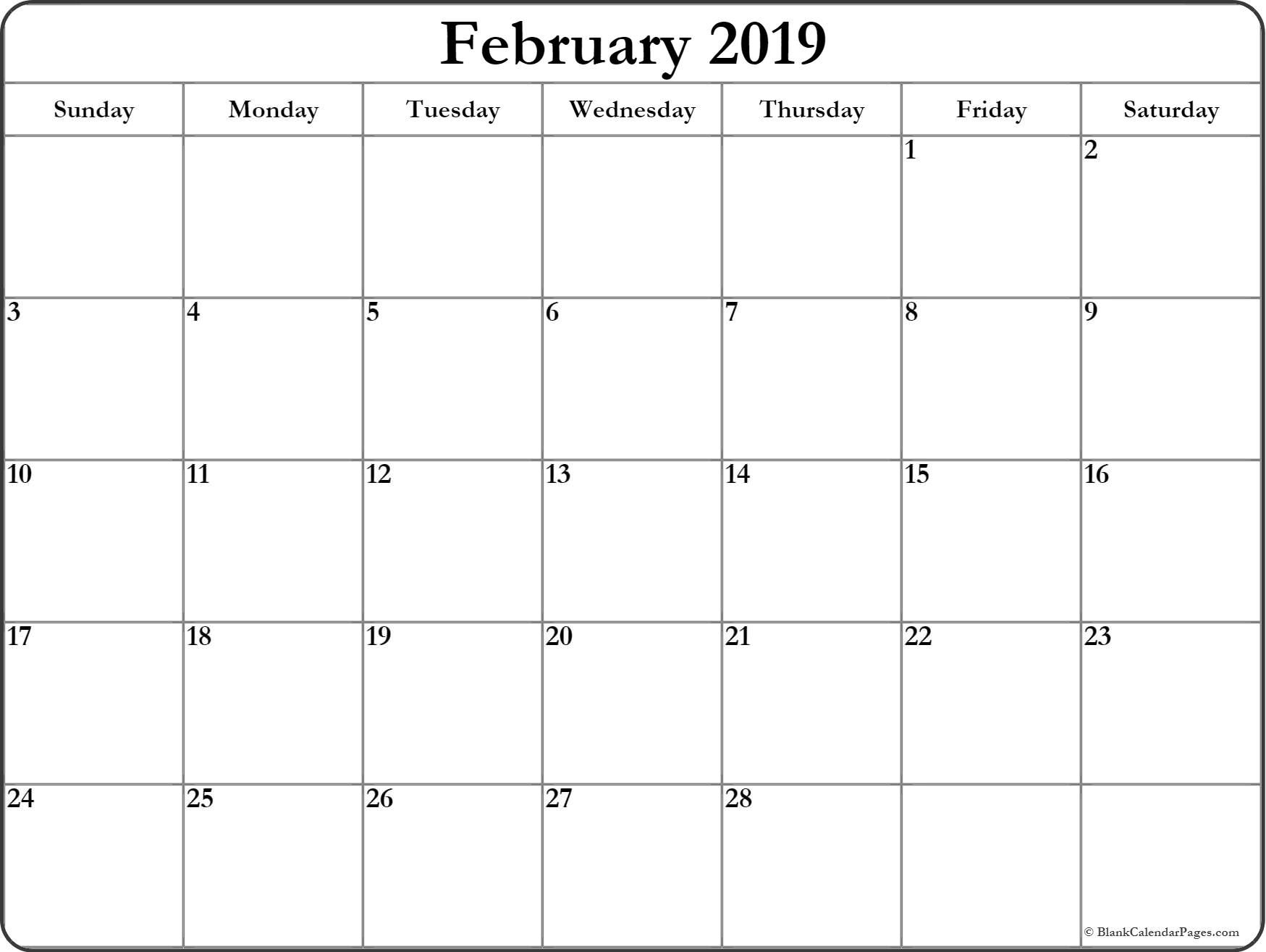 Free Printable February 2019 Calendar Template February