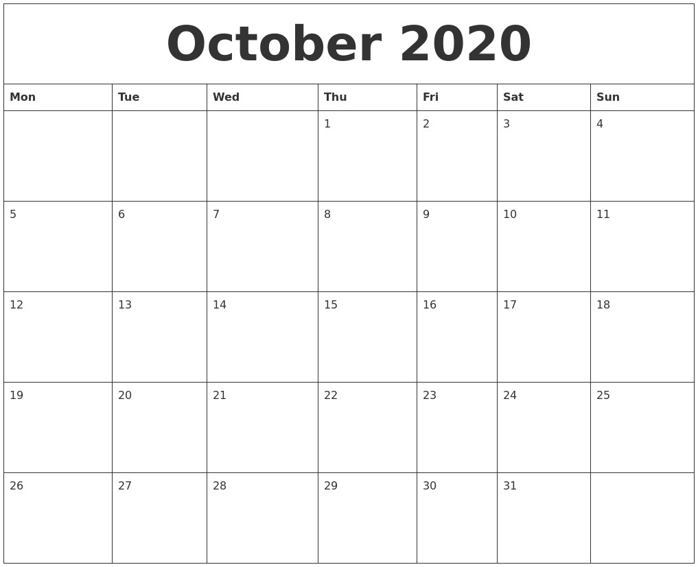 Free Printable October Calendar 2020 October 2020 Free Printable