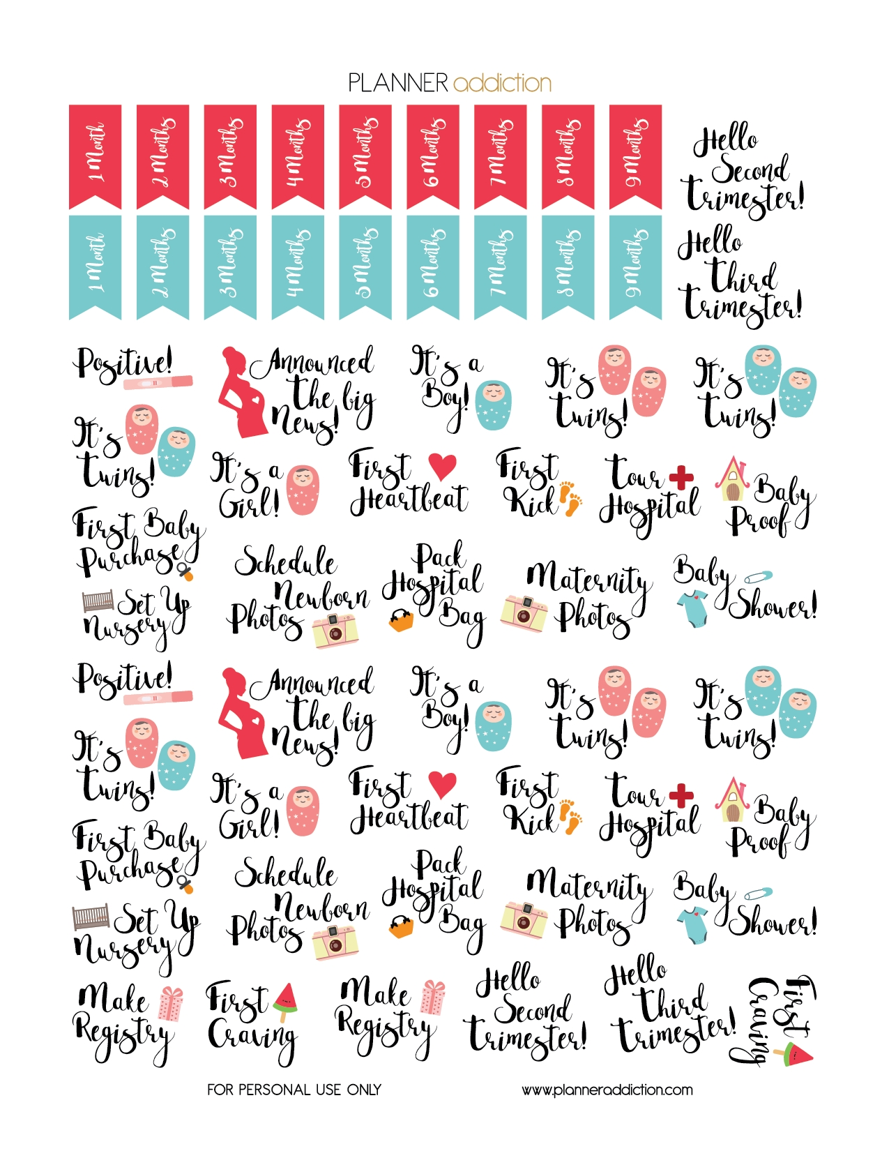 Free Printable Planner Stickers Pregnancy Planner Addiction