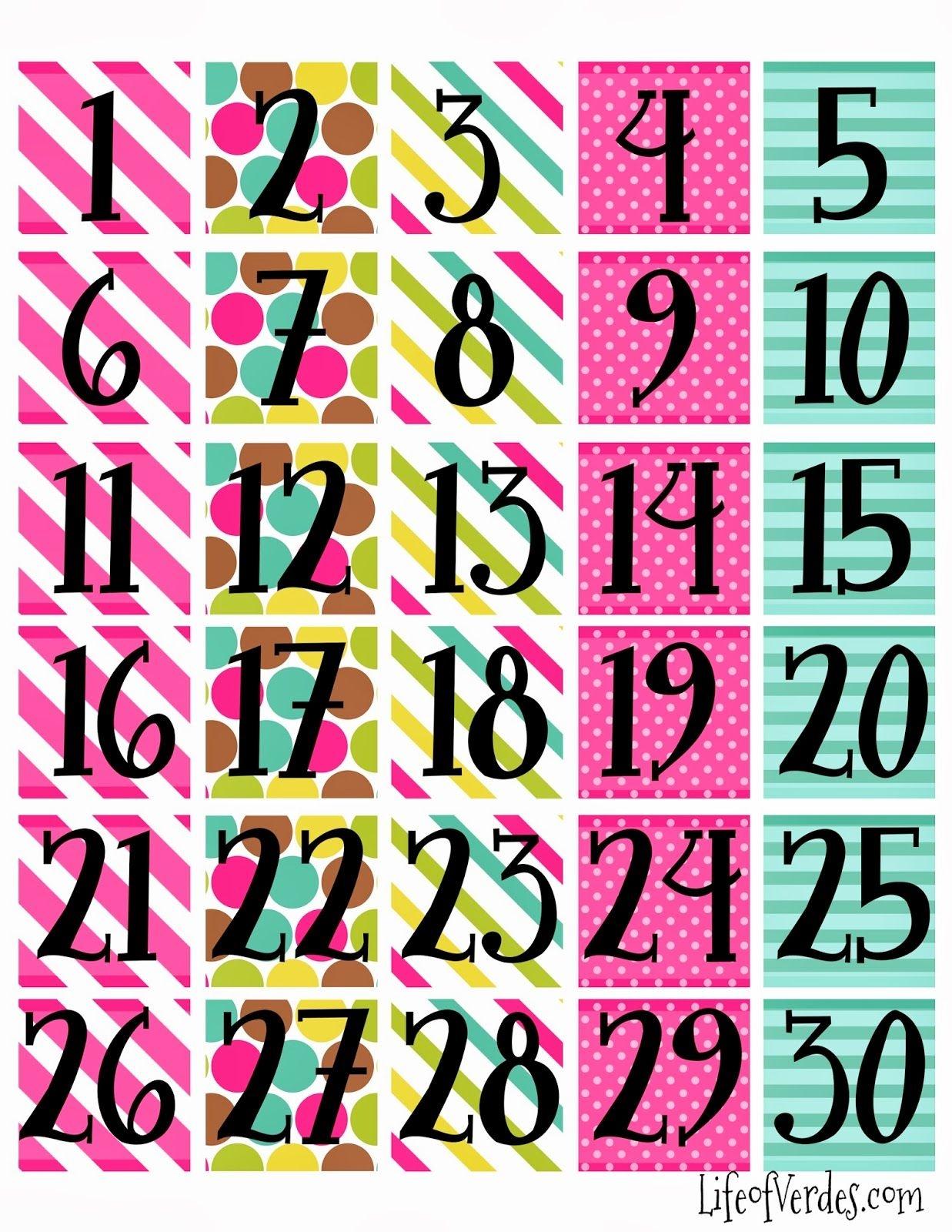 Freeprintablecalendarnumbers Household Info Calendar Numbers