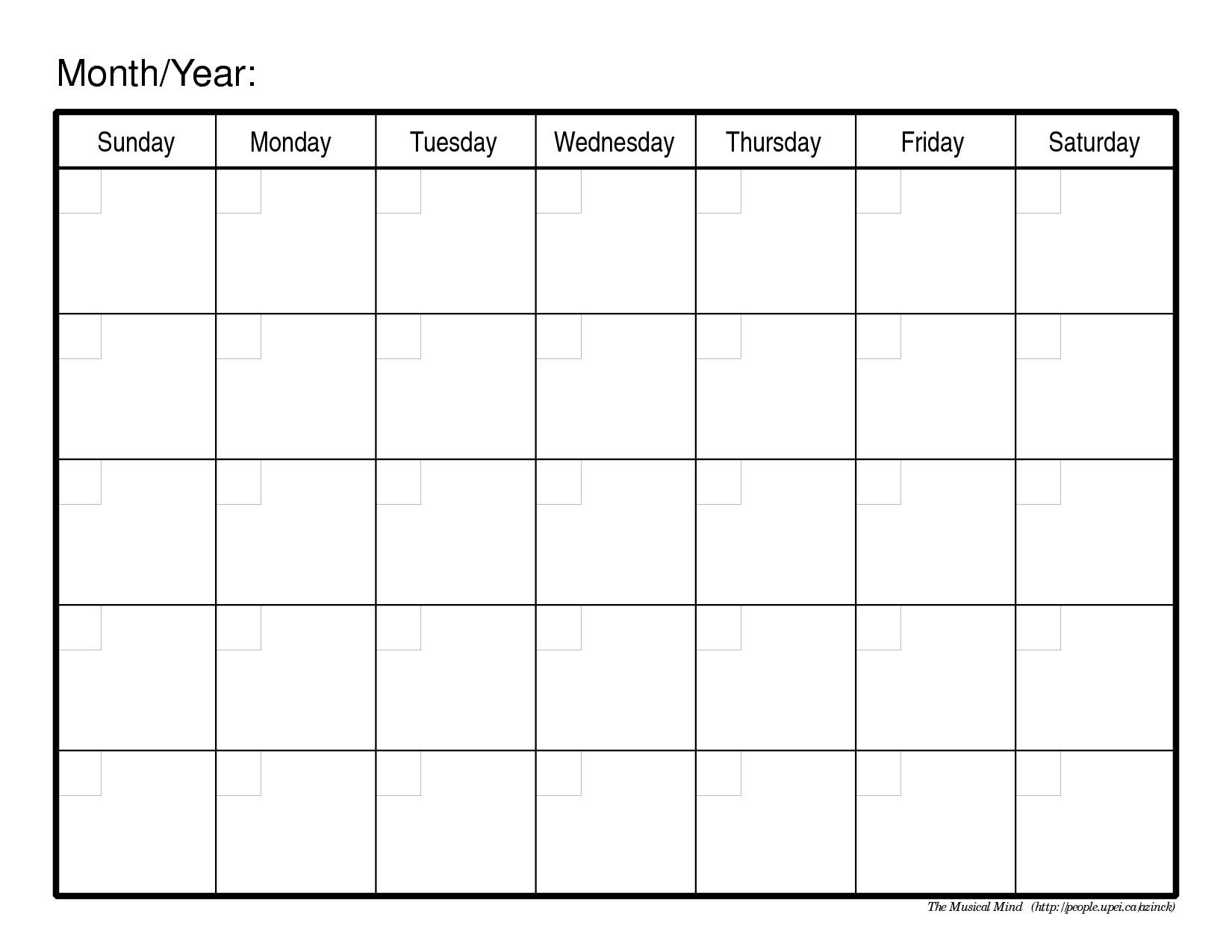 Full Page Monthly Calendar Printable Blank Calendar Design 2017