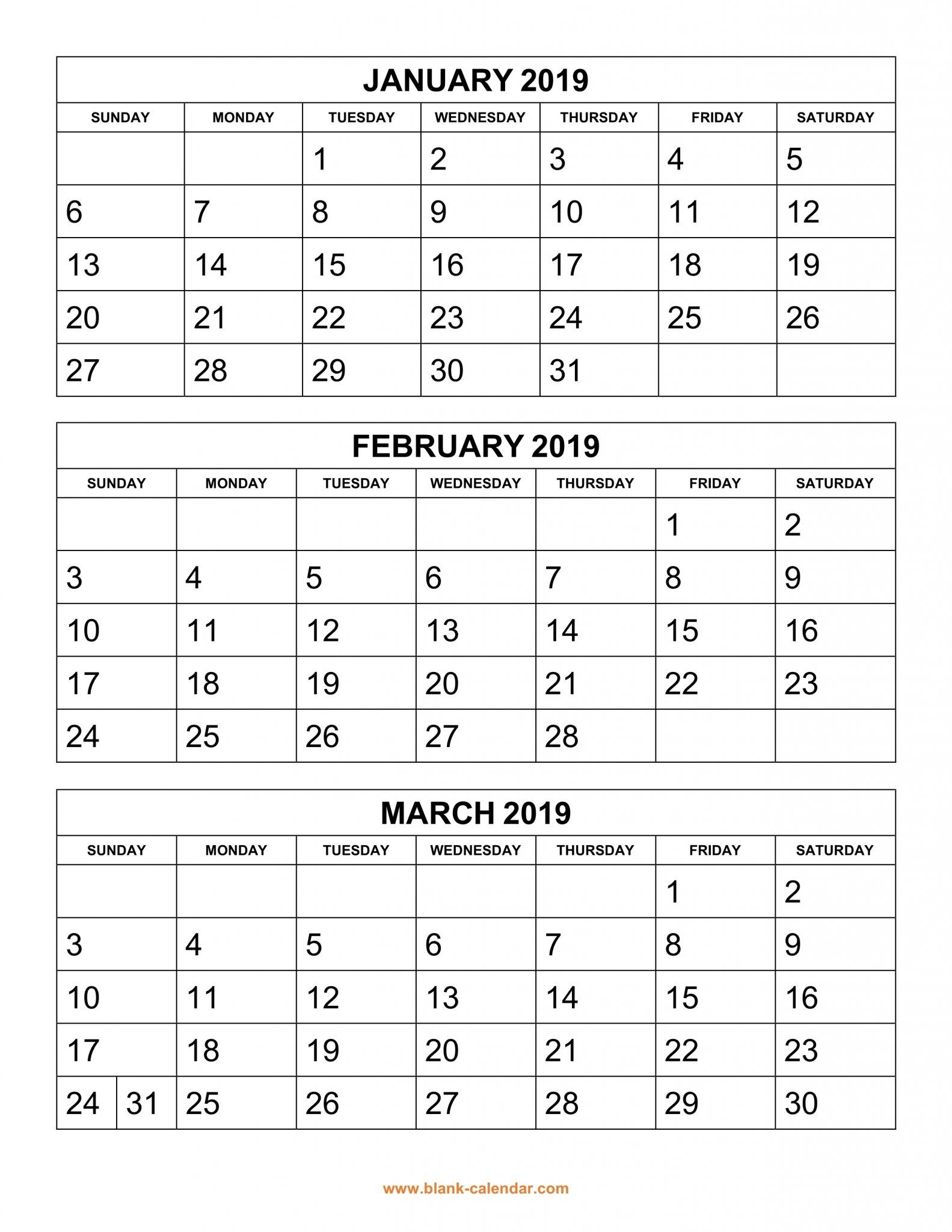 Get Free 2019 3 Month Calendar Templates Printable Download Top 10