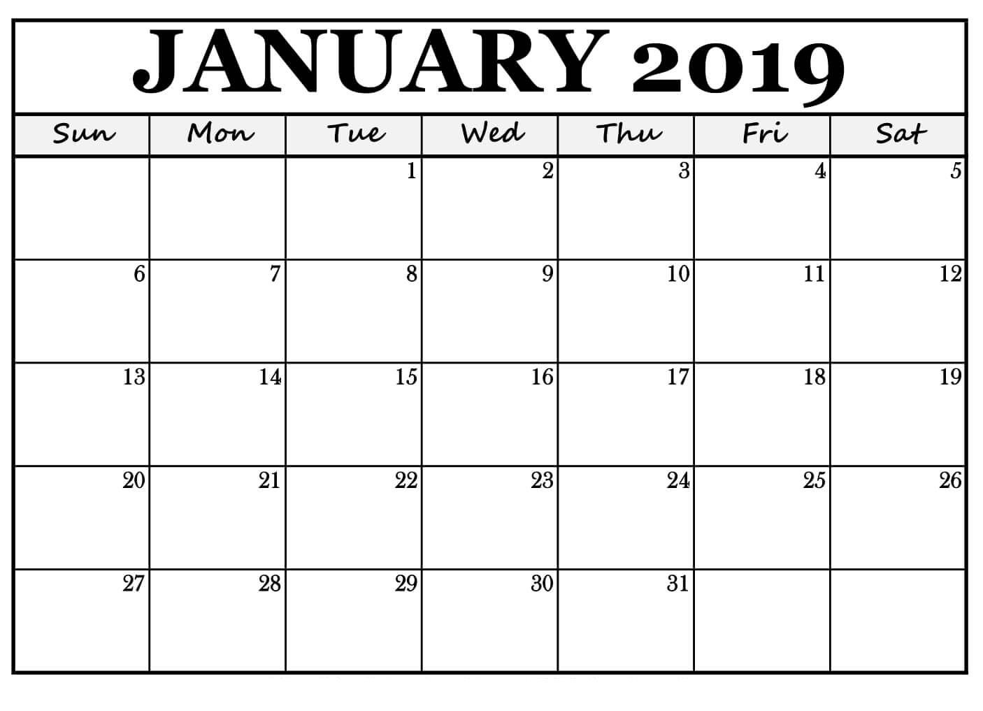 January 2019 Calendar For Landscape Free Print Free Printable
