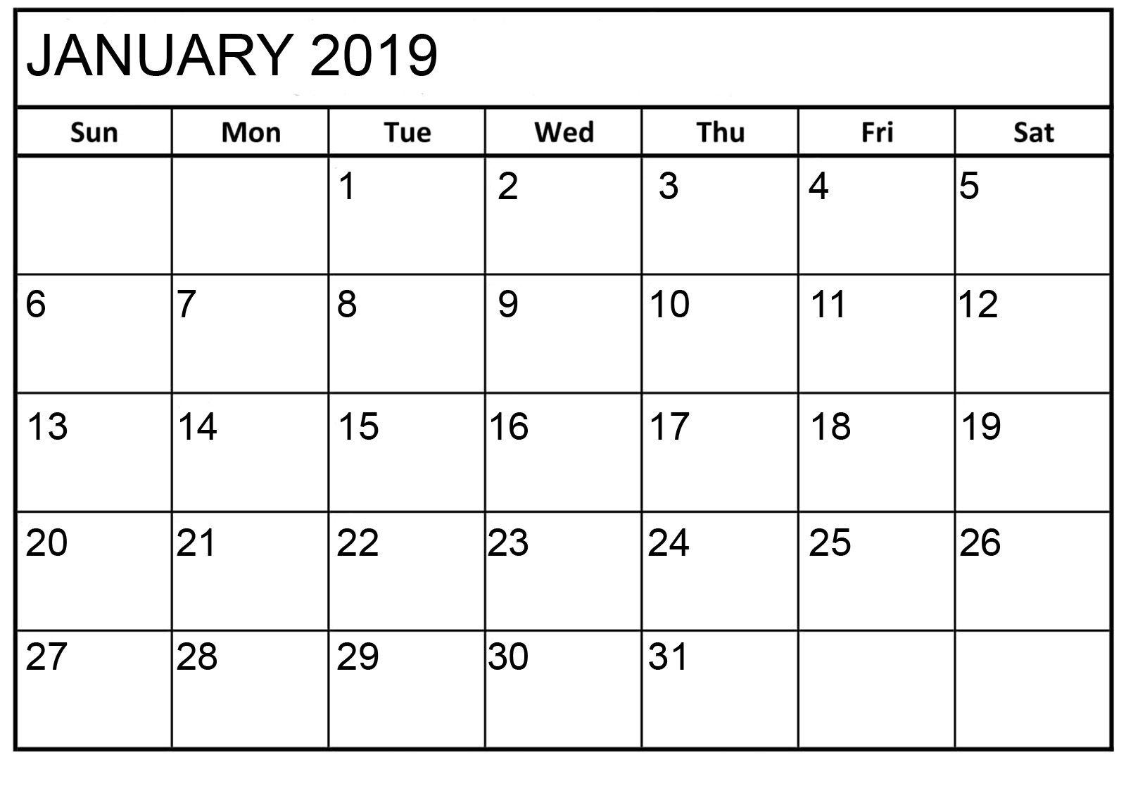 January 2019 Calendar Printable Html January 2019 Calendar