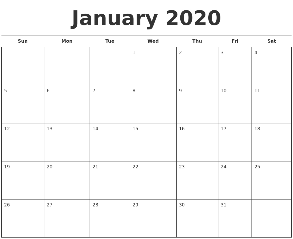 January 2020 Monthly Calendar Template