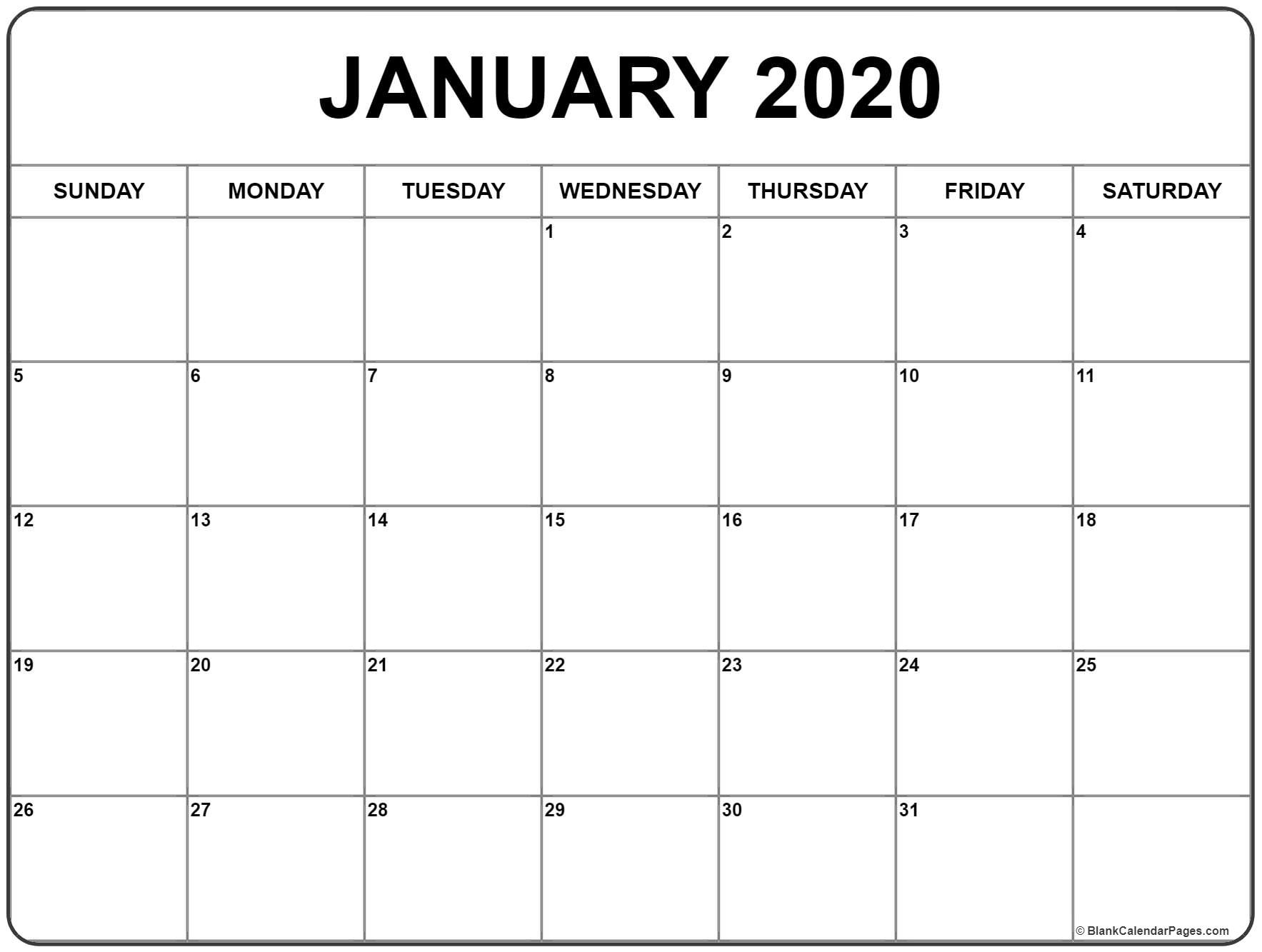January Calendar Printable 2020 January 2020 Calendar Monthly