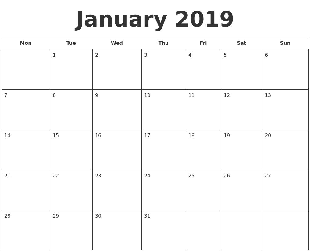 January Month Calendar 2019 Printable Template 25 Best January