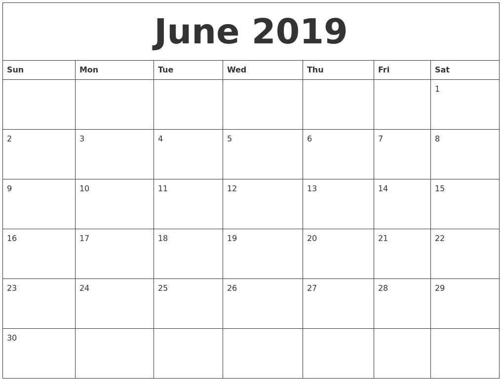June 2019 Blank Monthly Calendar Template