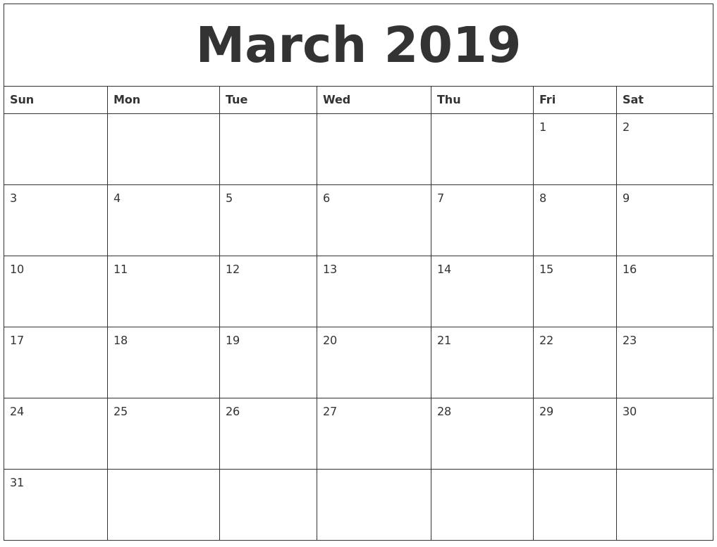 March 2019 Printable Calendar Pdf