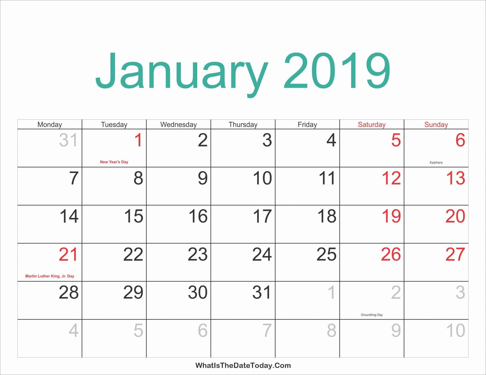 Monthly Calendar January 2019 Printable 25 Best January 2019