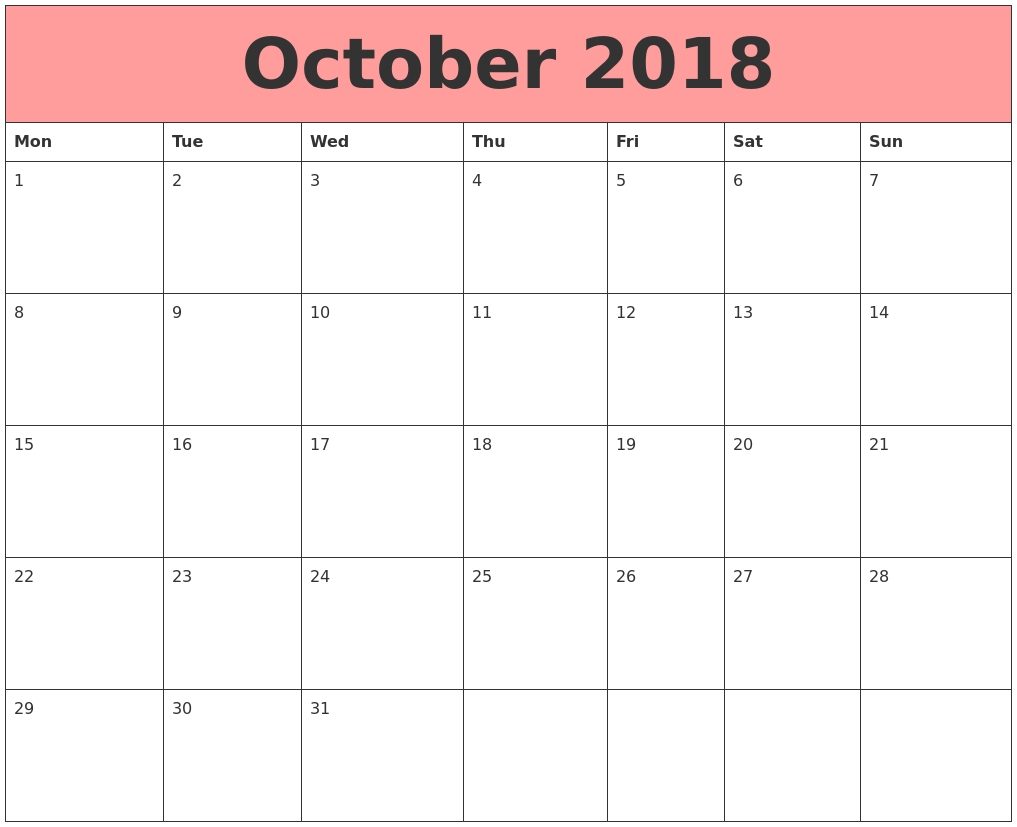 October 2018 Google Calendar October 2018 Calendar Printable