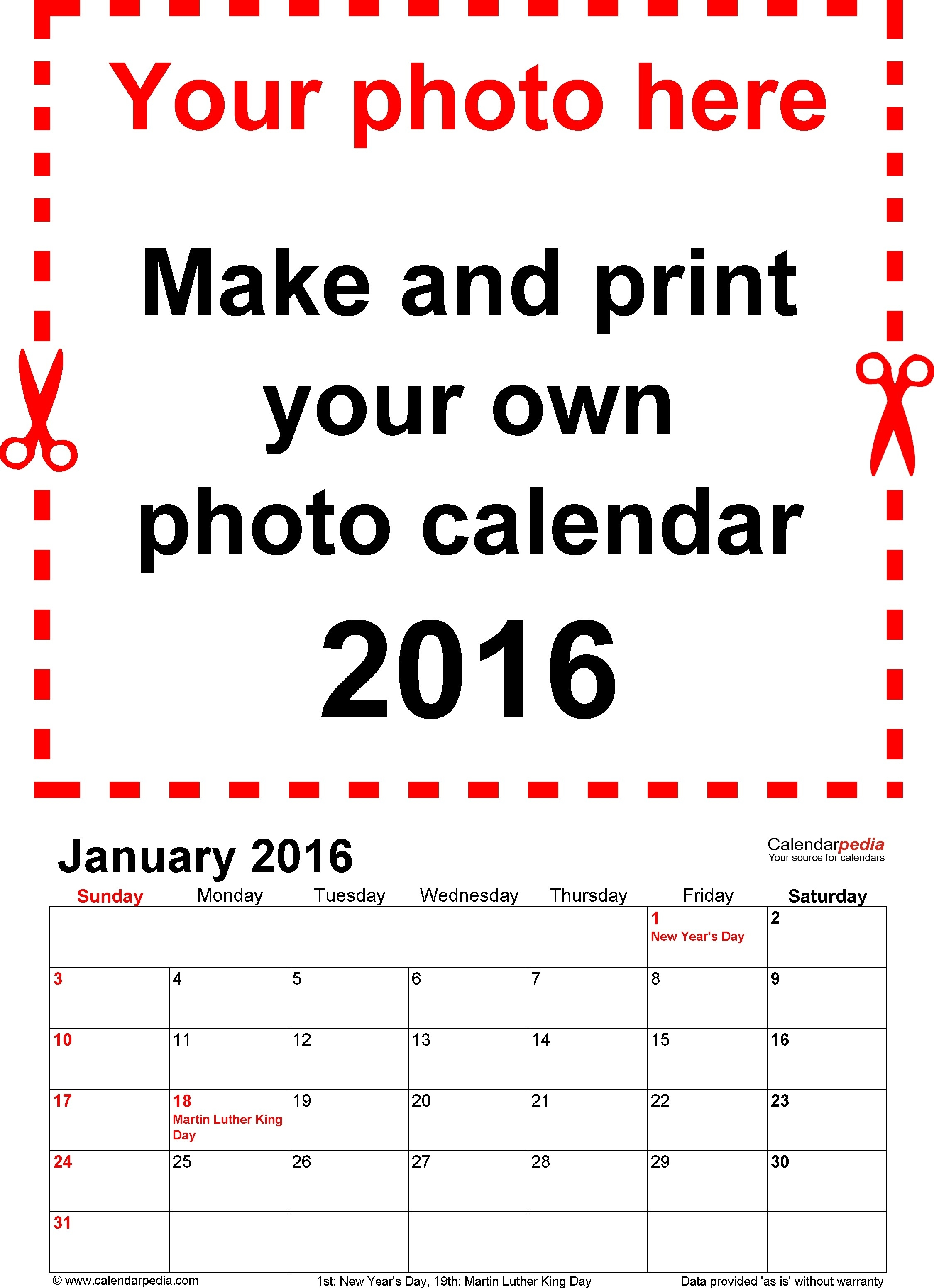 Photo Calendar 2016 Free Printable Word Templates 3 Within Make Your