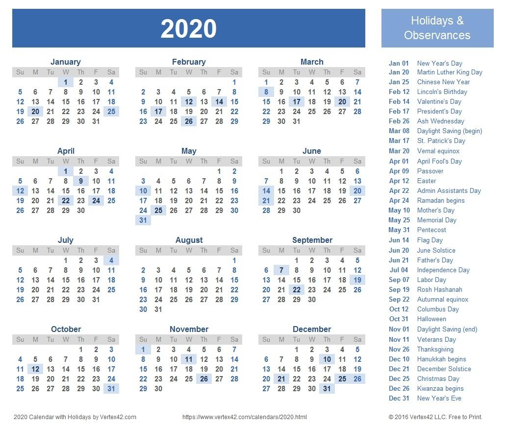 Printable 2020 Calendar Canada 2020 Calendar Templates And Monthly