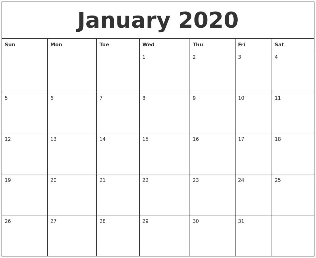 Printable 2020 Calendar Month January 2020 Printable Monthly