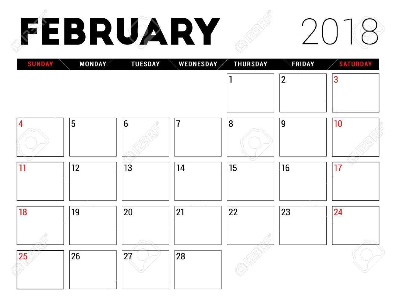 Printable Calendar For February 2018 Planner Design Template