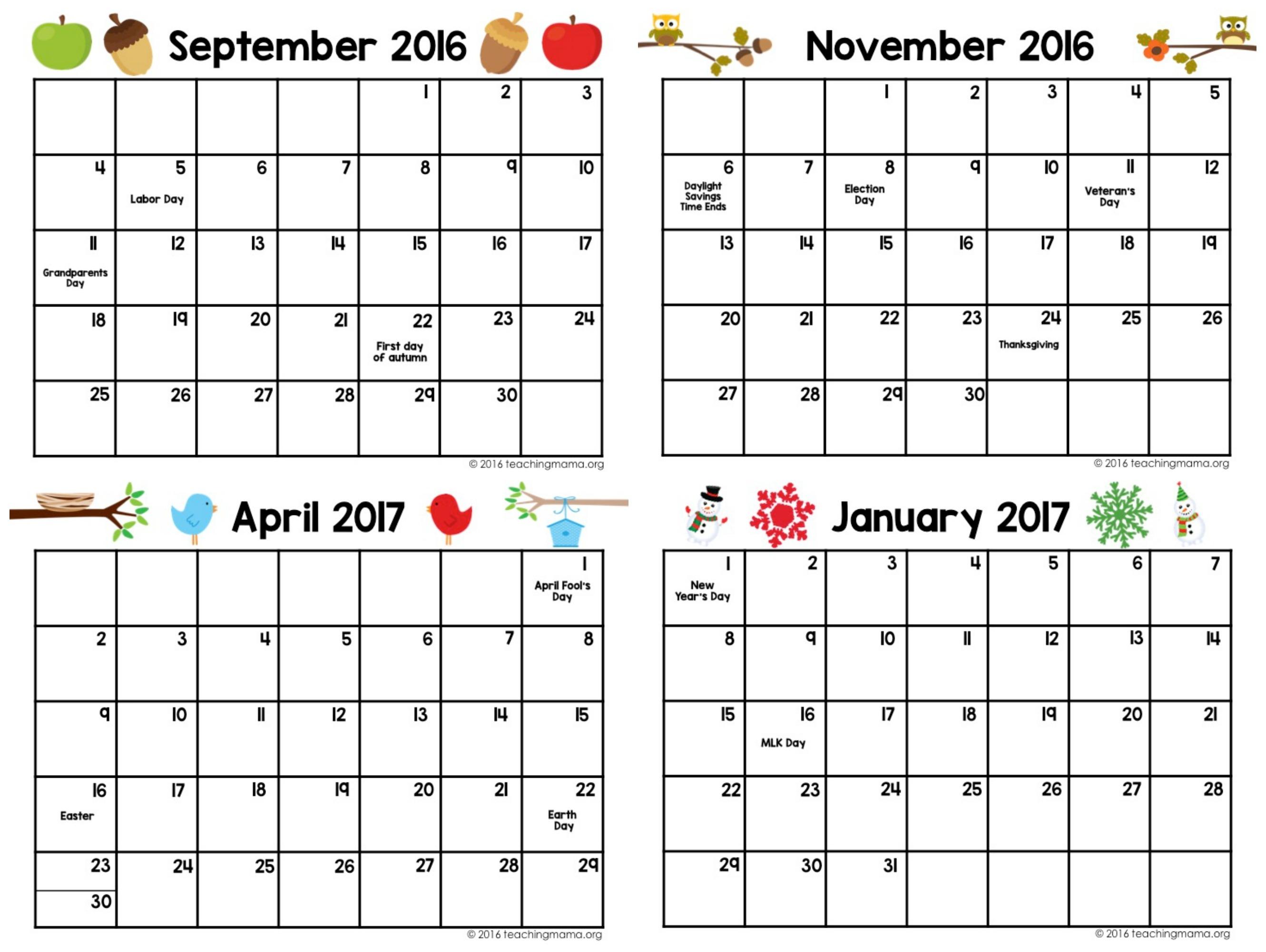 Printable Calendar Preschool Printable Calendar 2019