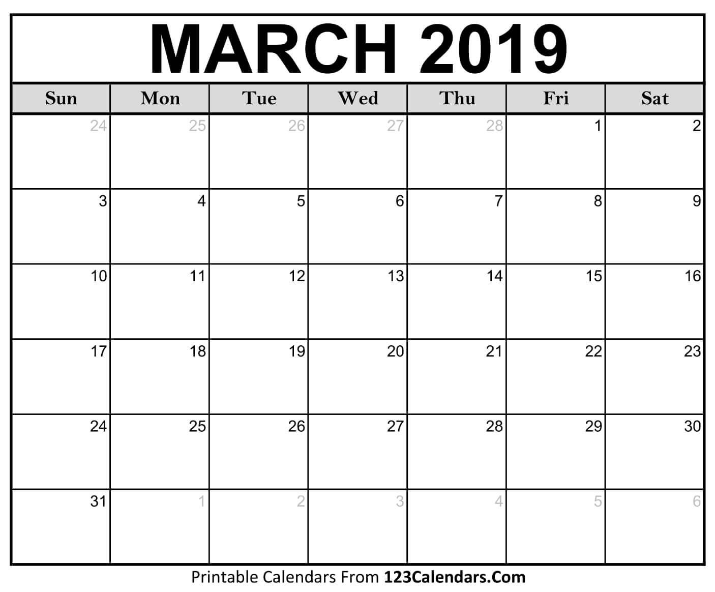 Printable March 2019 Calendar Templates 123calendars
