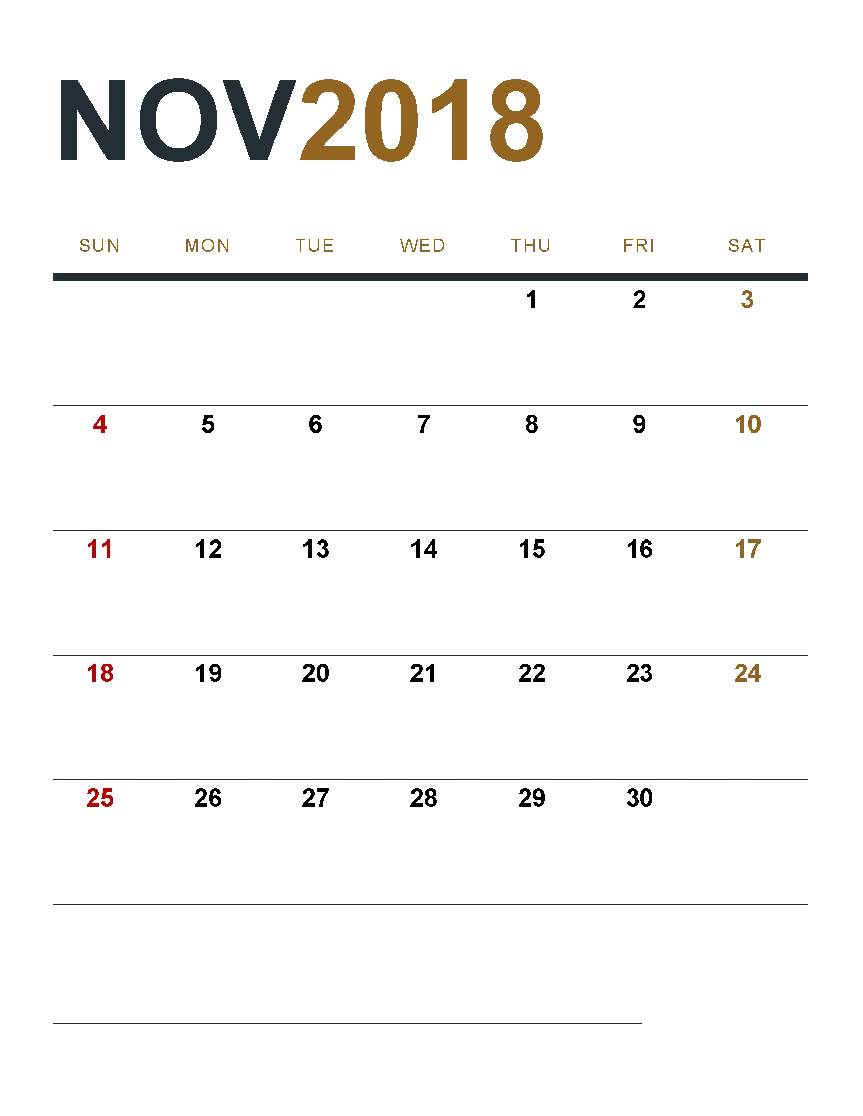 Printable November 2018 Calendar Design Printable November 2018