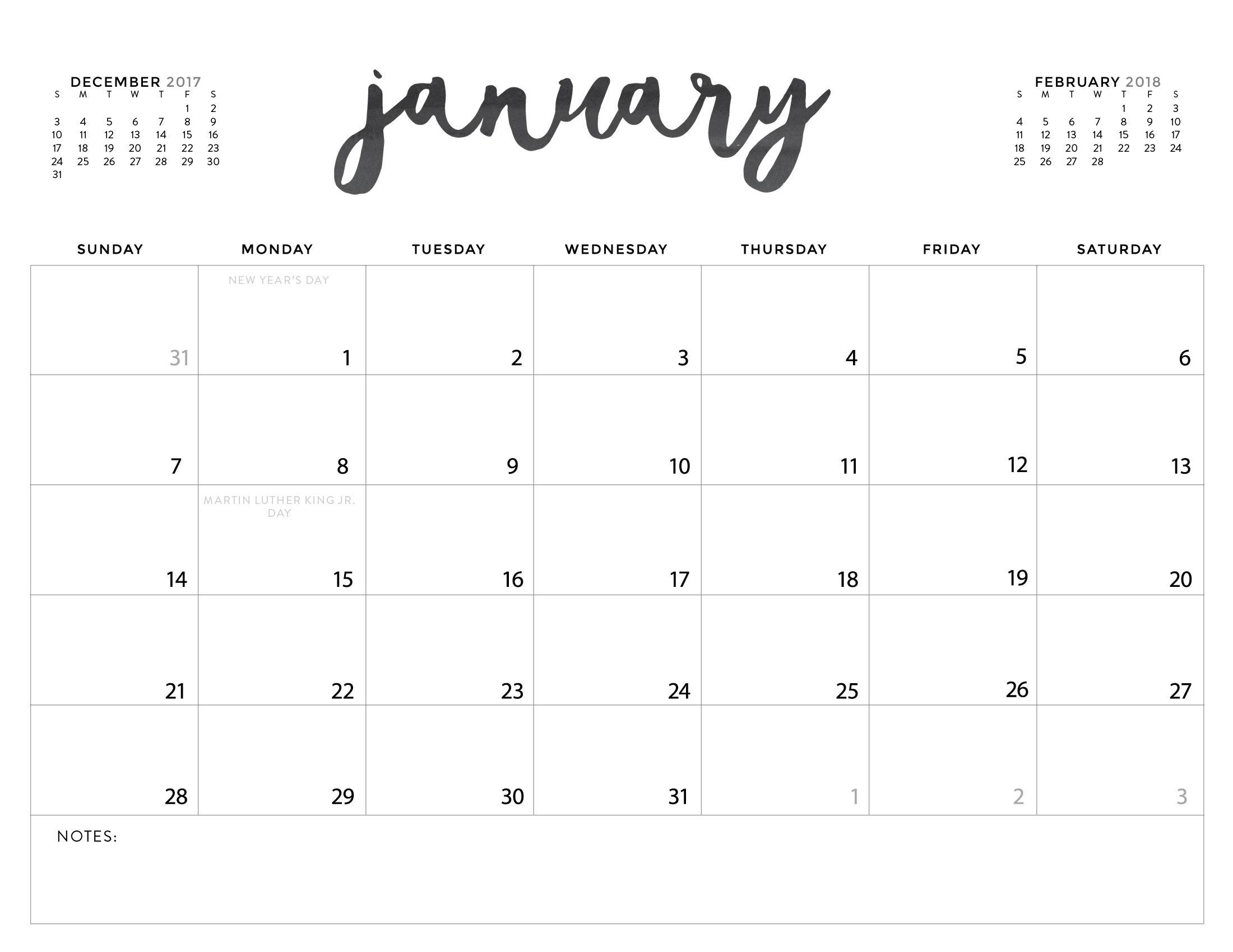 Printable Online Calendar Download Your Free 2018 Printable