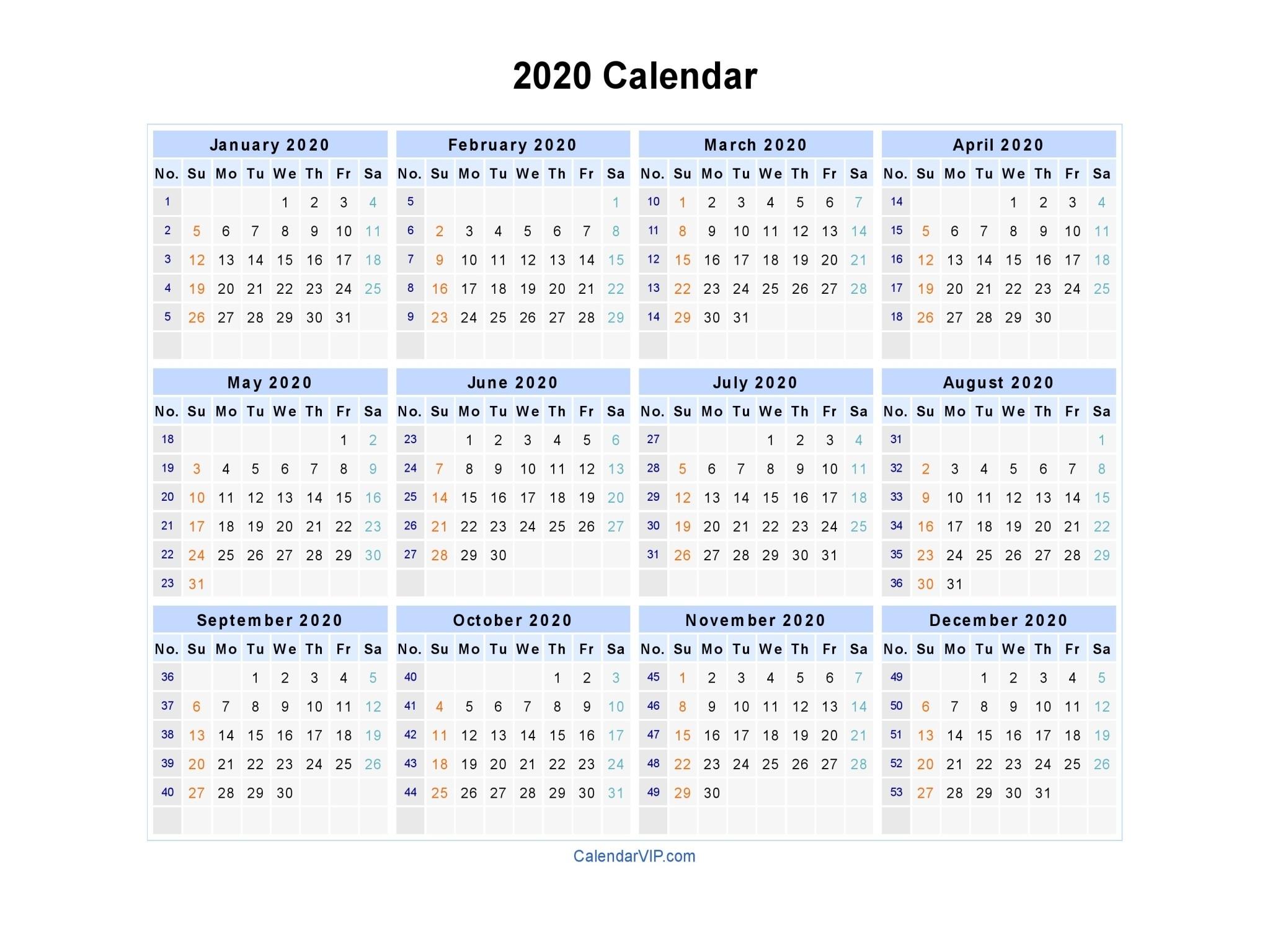 Printable Weekly Calendar 2020 2020 Calendar Blank Printable