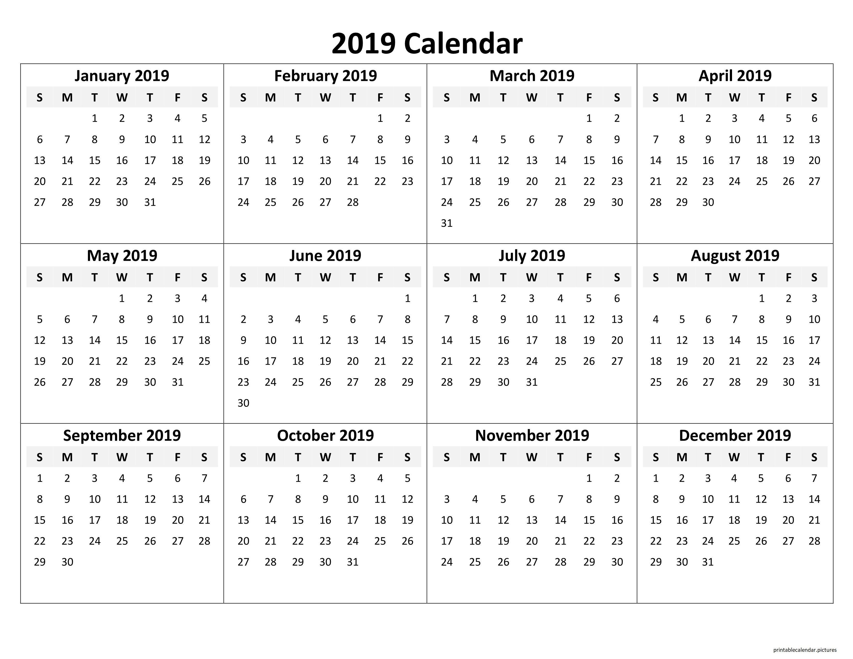 Printable Yearly Calendar 2019 Printable Calendar 2019 Pinterest