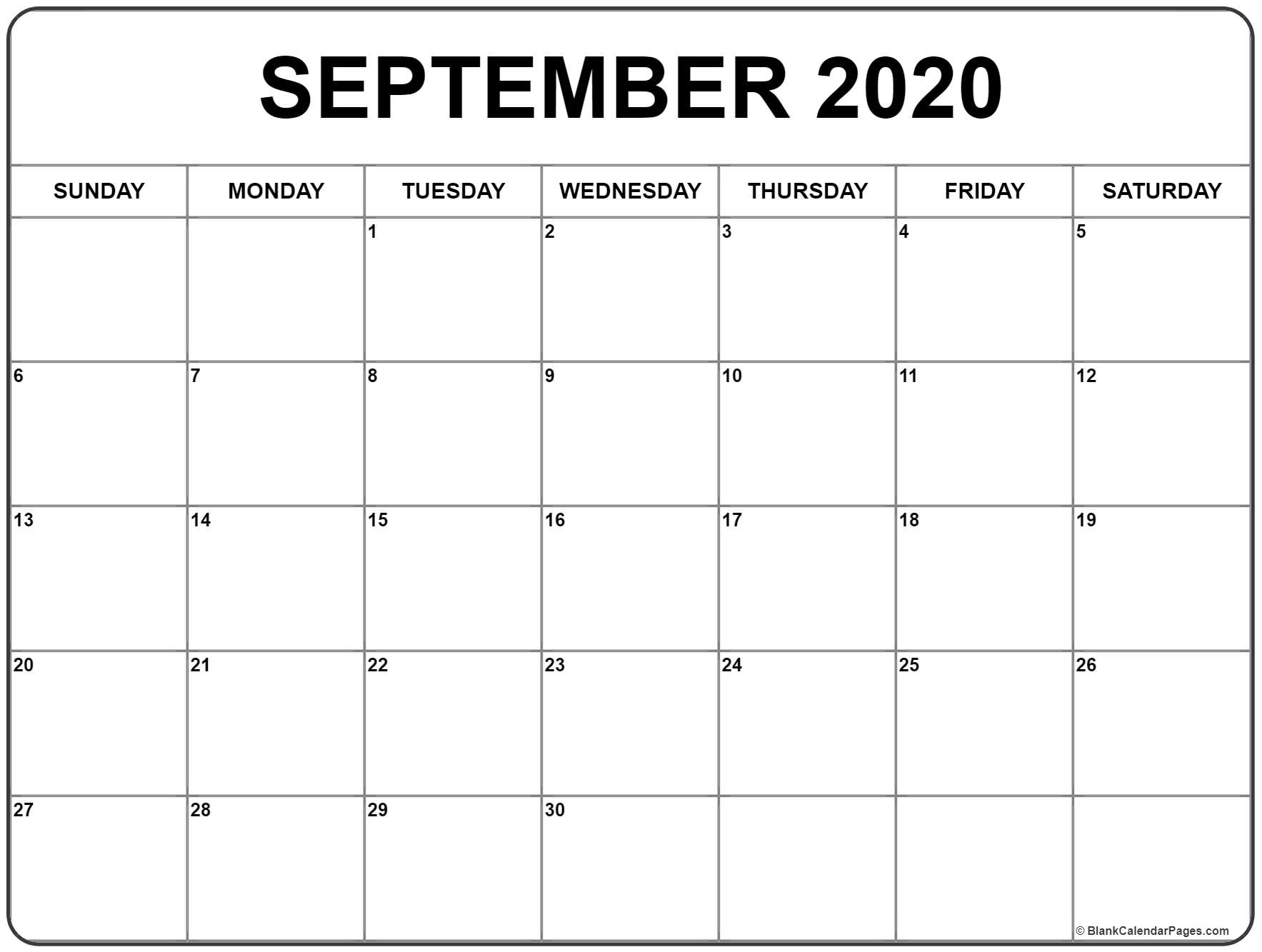 September 2020 Calendar 56 Templates Of 2020 Printable Calendars