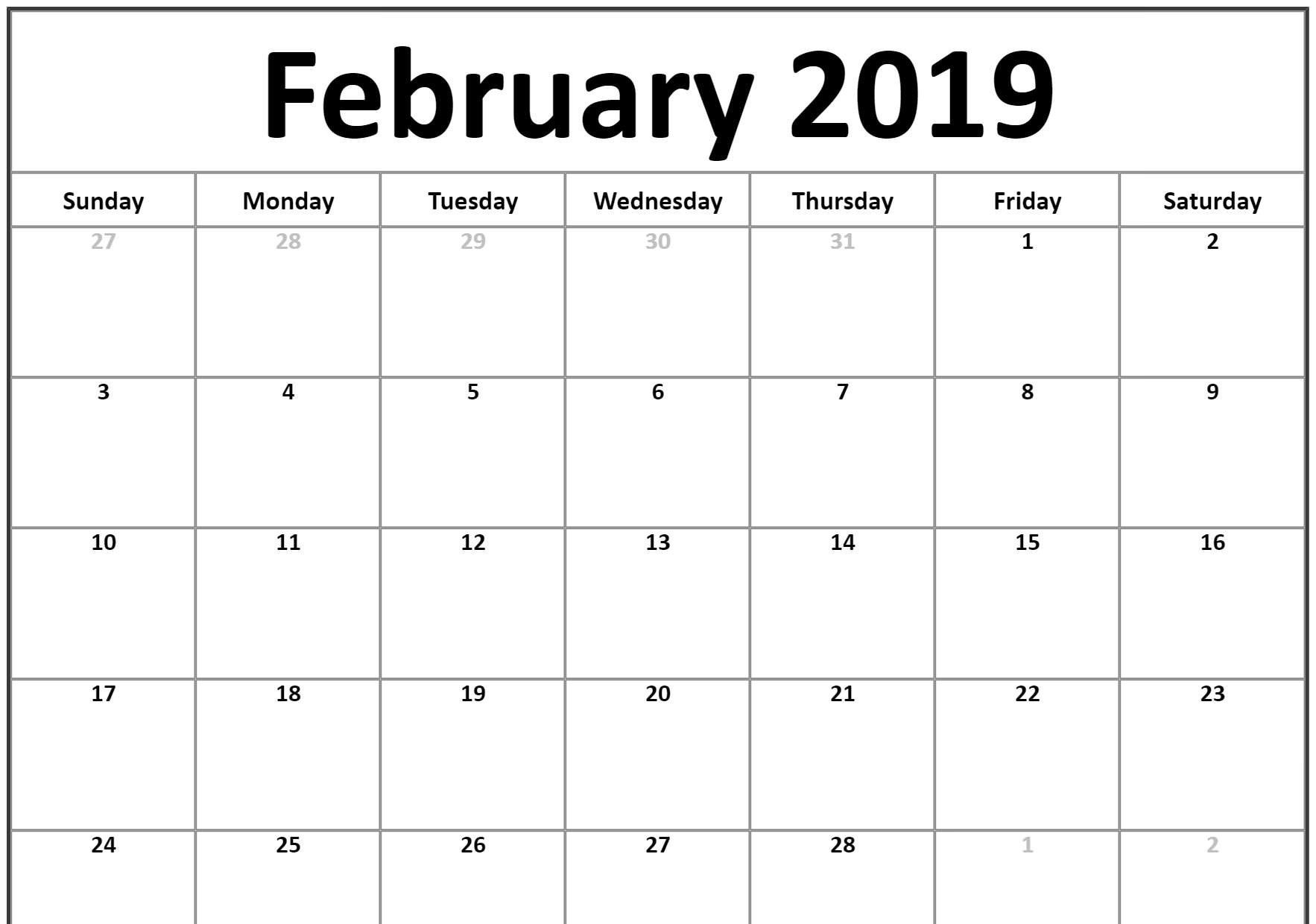 Small 2019 February Printable Calendar Landscape February 2019