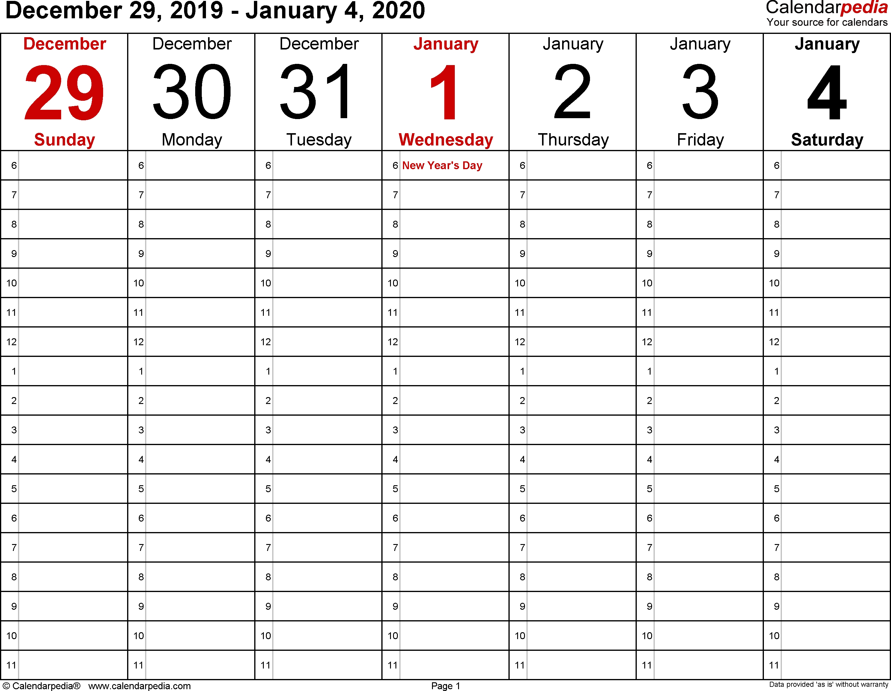 Weekly Calendar 2020 For Word 12 Free Printable Templates