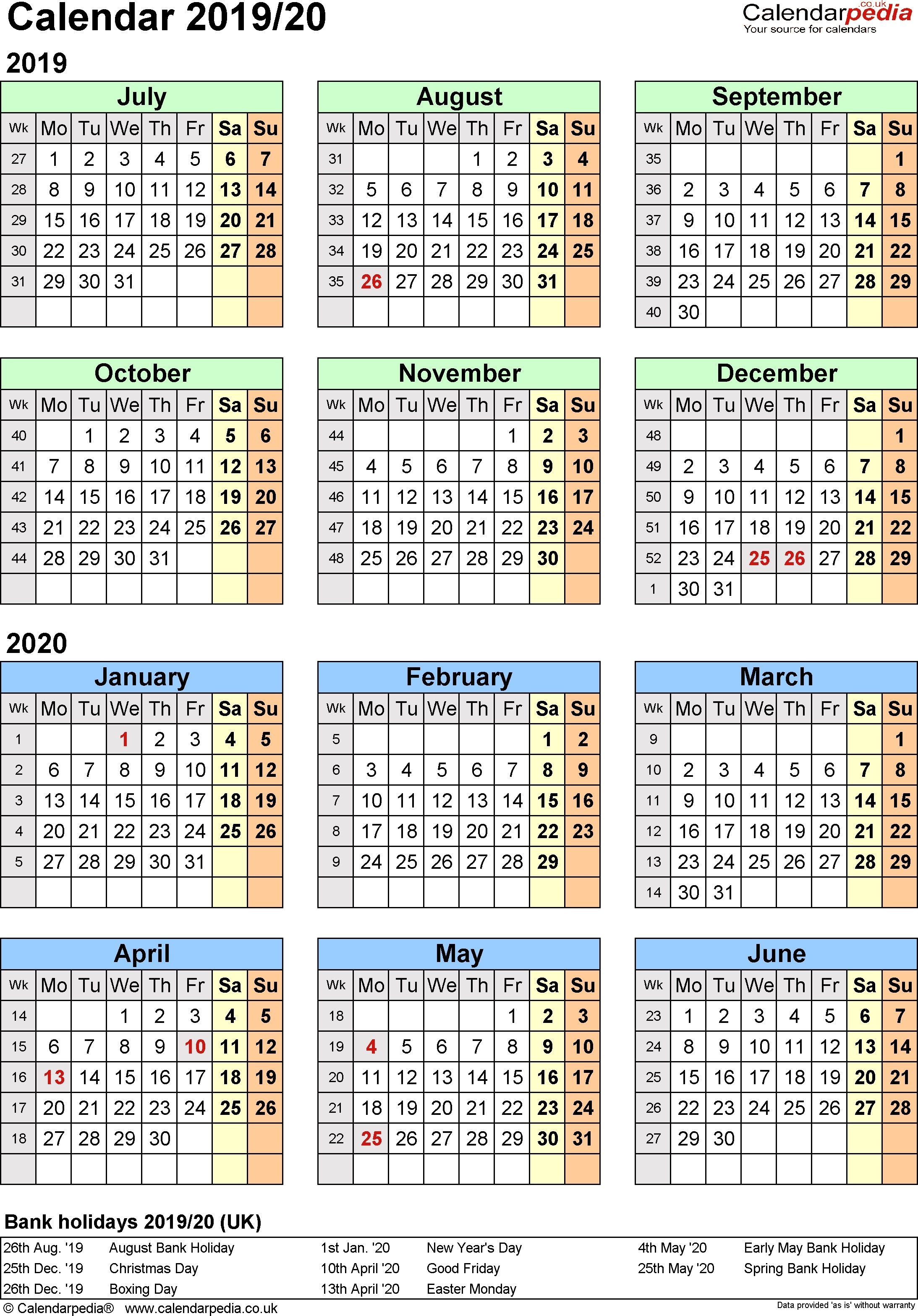 Year At A Glance Printable Calendar 2020 Split Year Calendars 2019