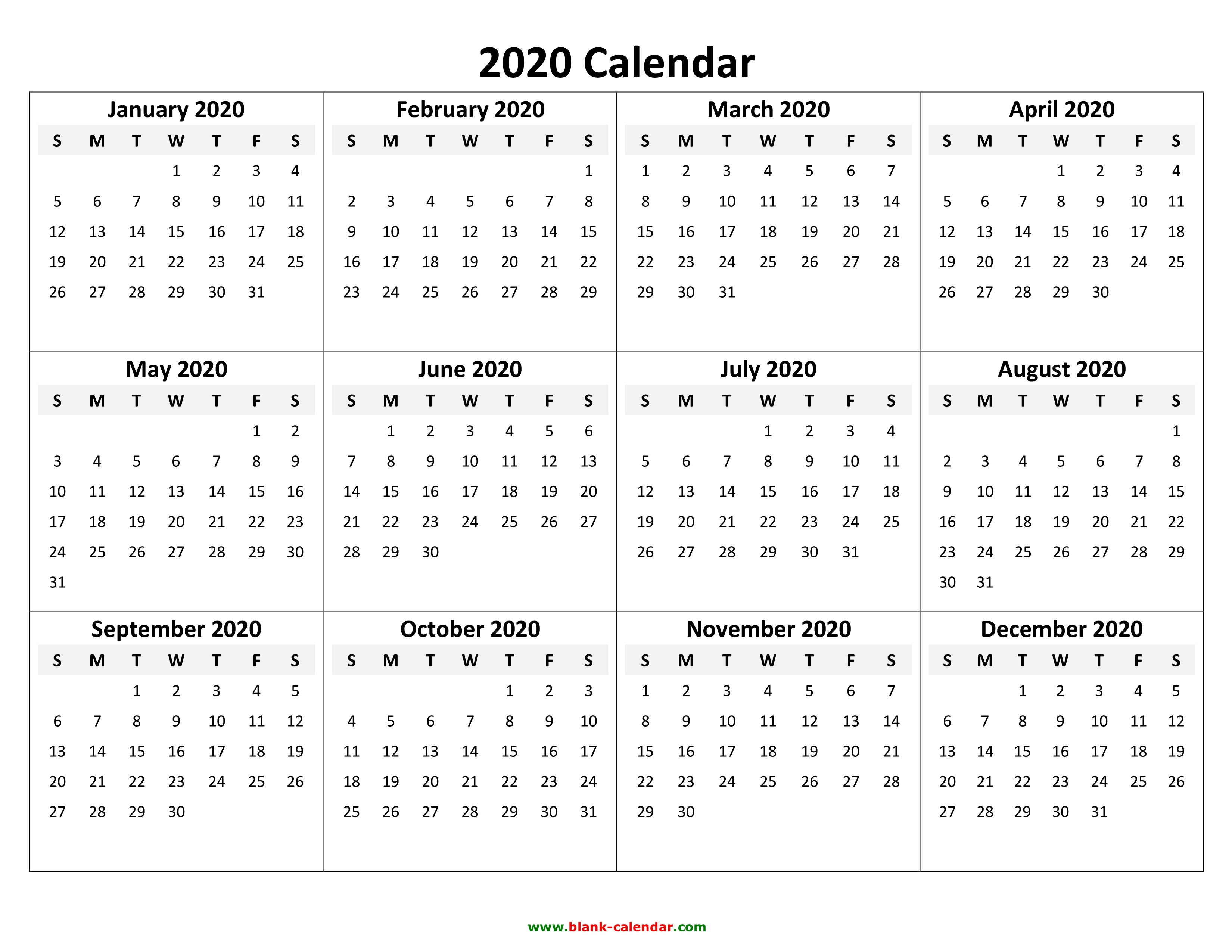Yearly Calendar 2020 Free Download And Print