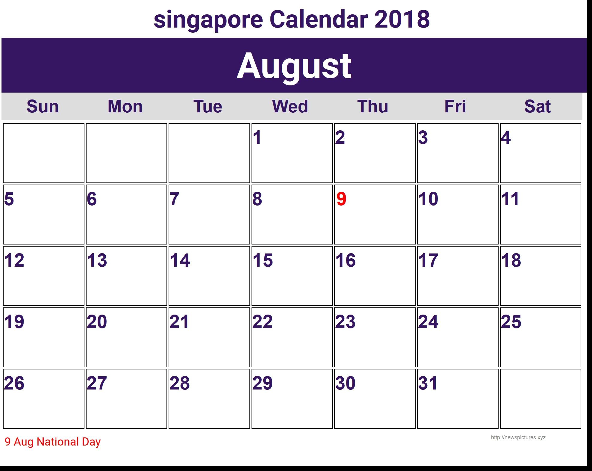 2018 August Calendar Singapore Blank August 2018 Calendar Template