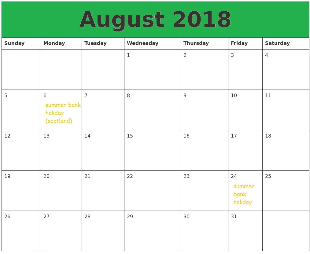 August 2018 Calendar Usa Uk Malaysia Singapore Canada India