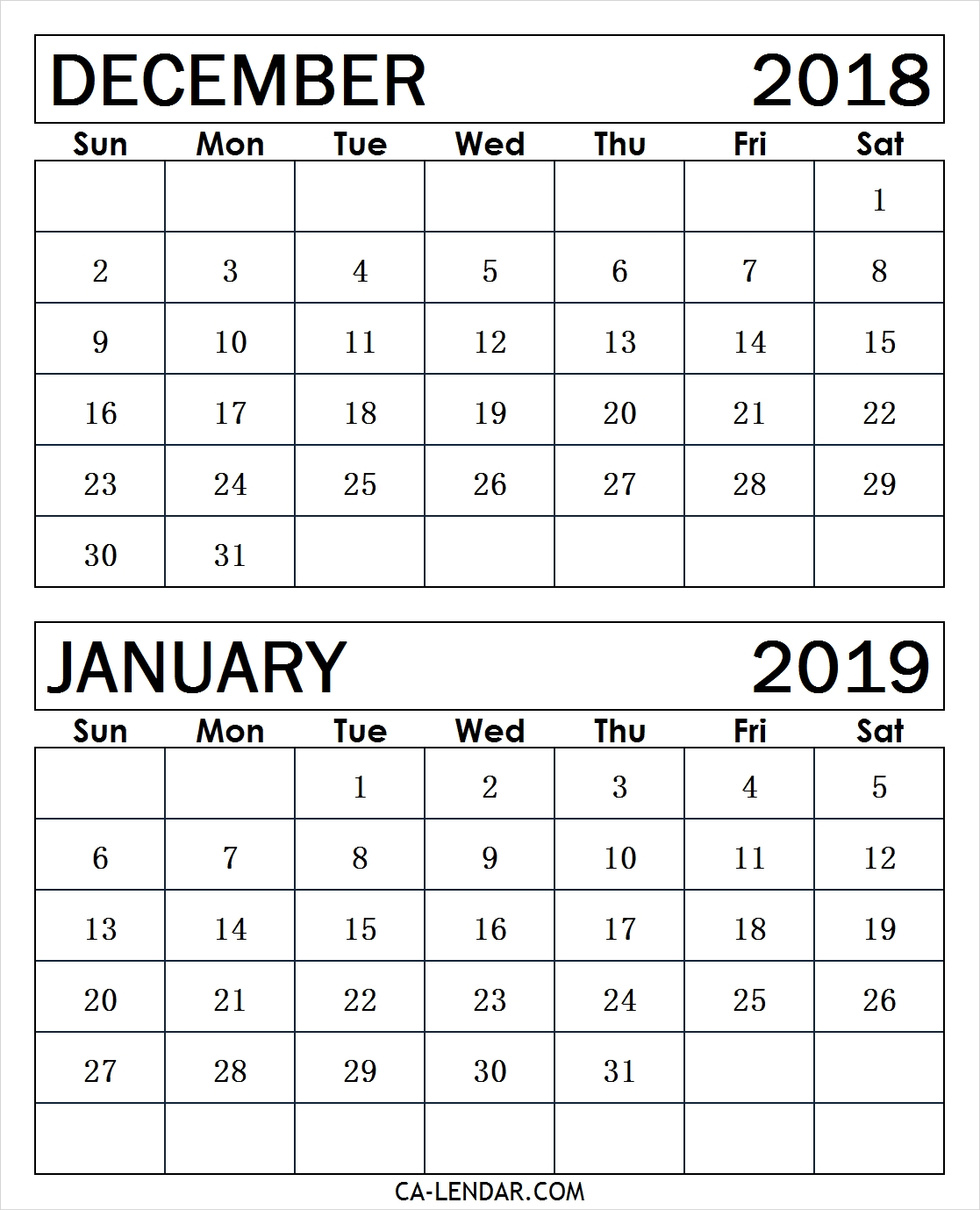 December 2018 January 2019 Calendar Template Calendar Printable