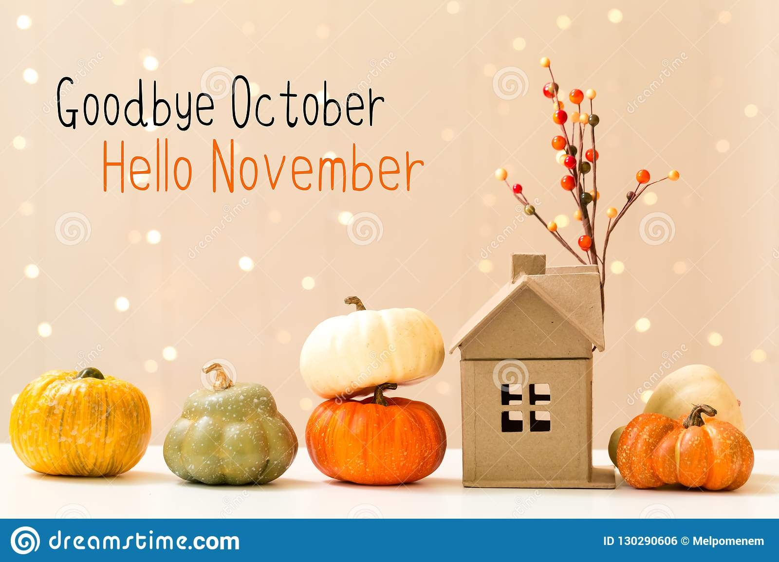 Goode October Hello November Message With Pumpkins With House