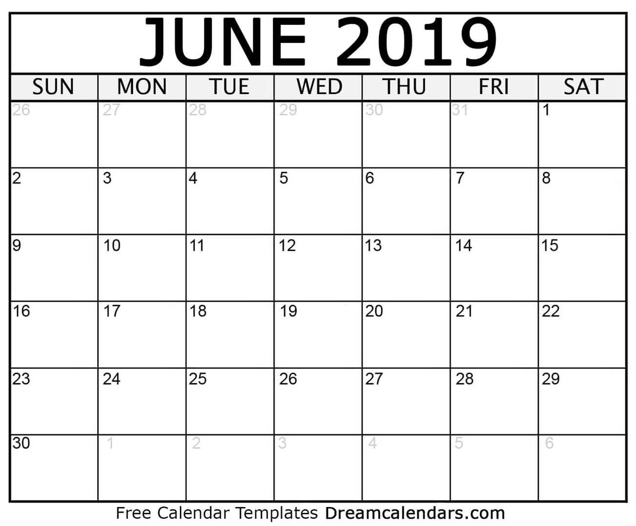 Printable June 2019 Calendar Dream Calendars