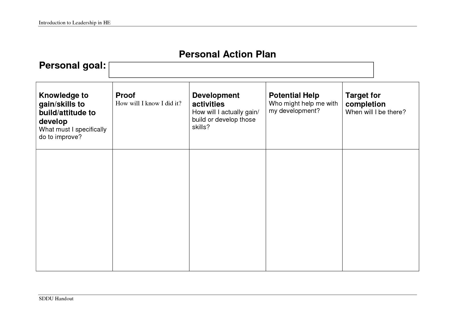 006 Personal Development Action Plan Template 31178 Ulyssesroom
