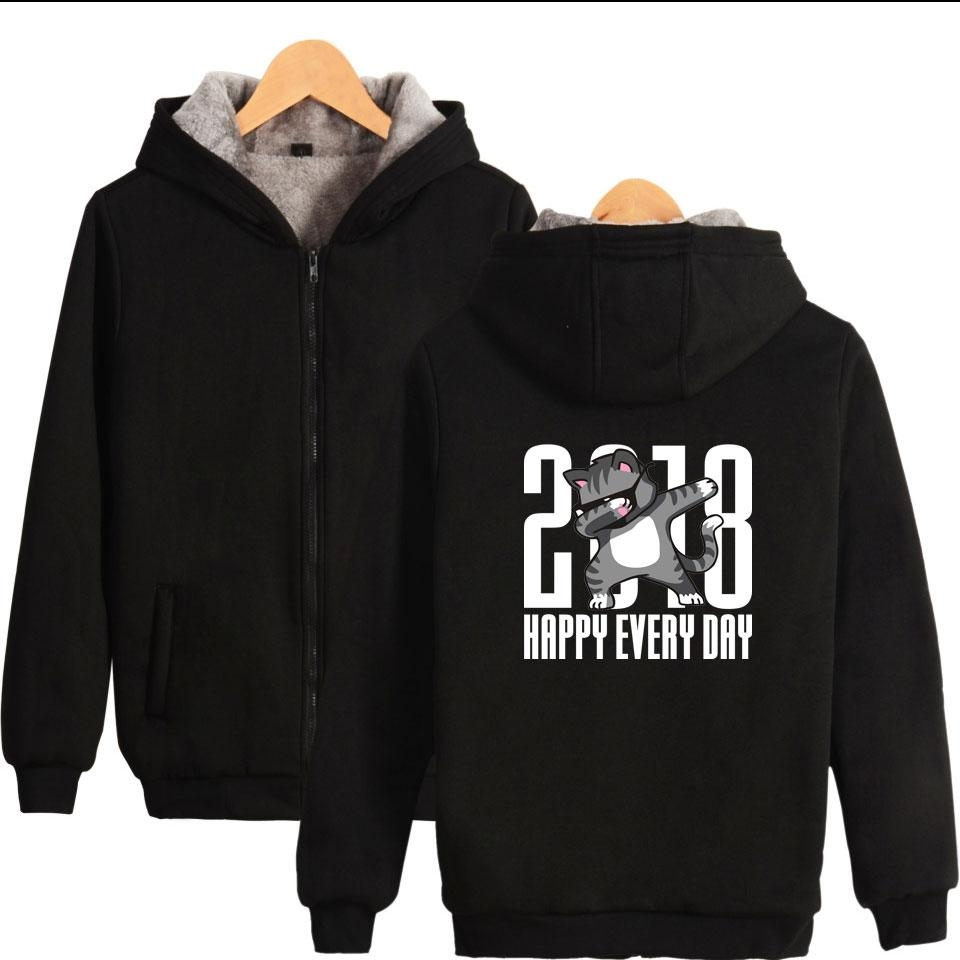 2019 2018 Happy Every Day Funny Animal Warm Thick Hoodies