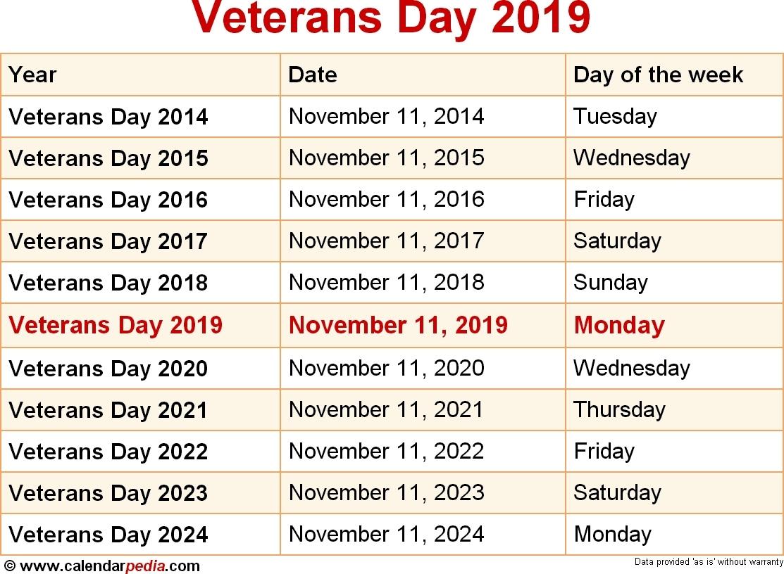 2019 Calendar Holidays Veterans Day Printable Blank Calendar Template