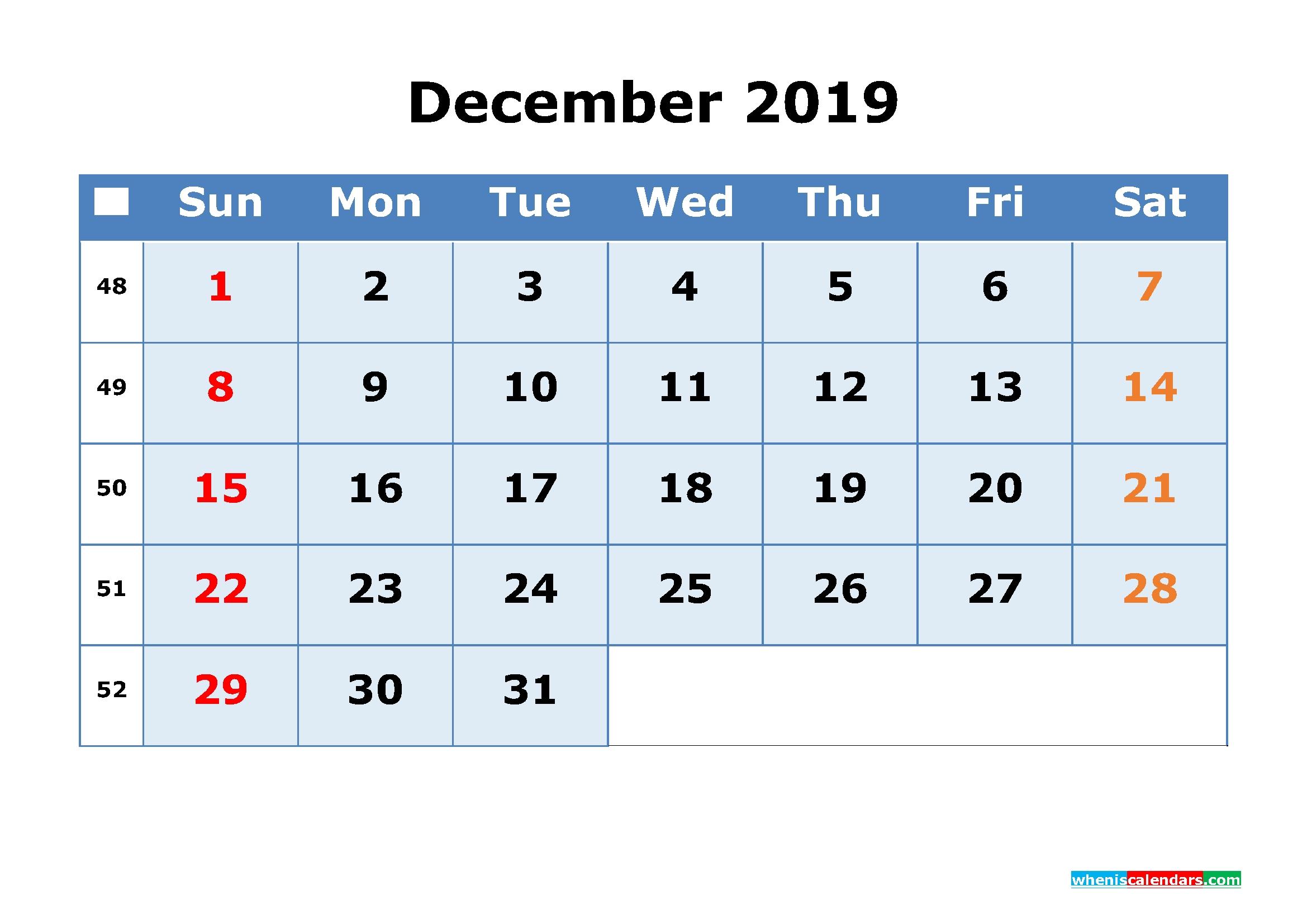 2019 Printable Calendar With Week Numbers As Pdf Image Free